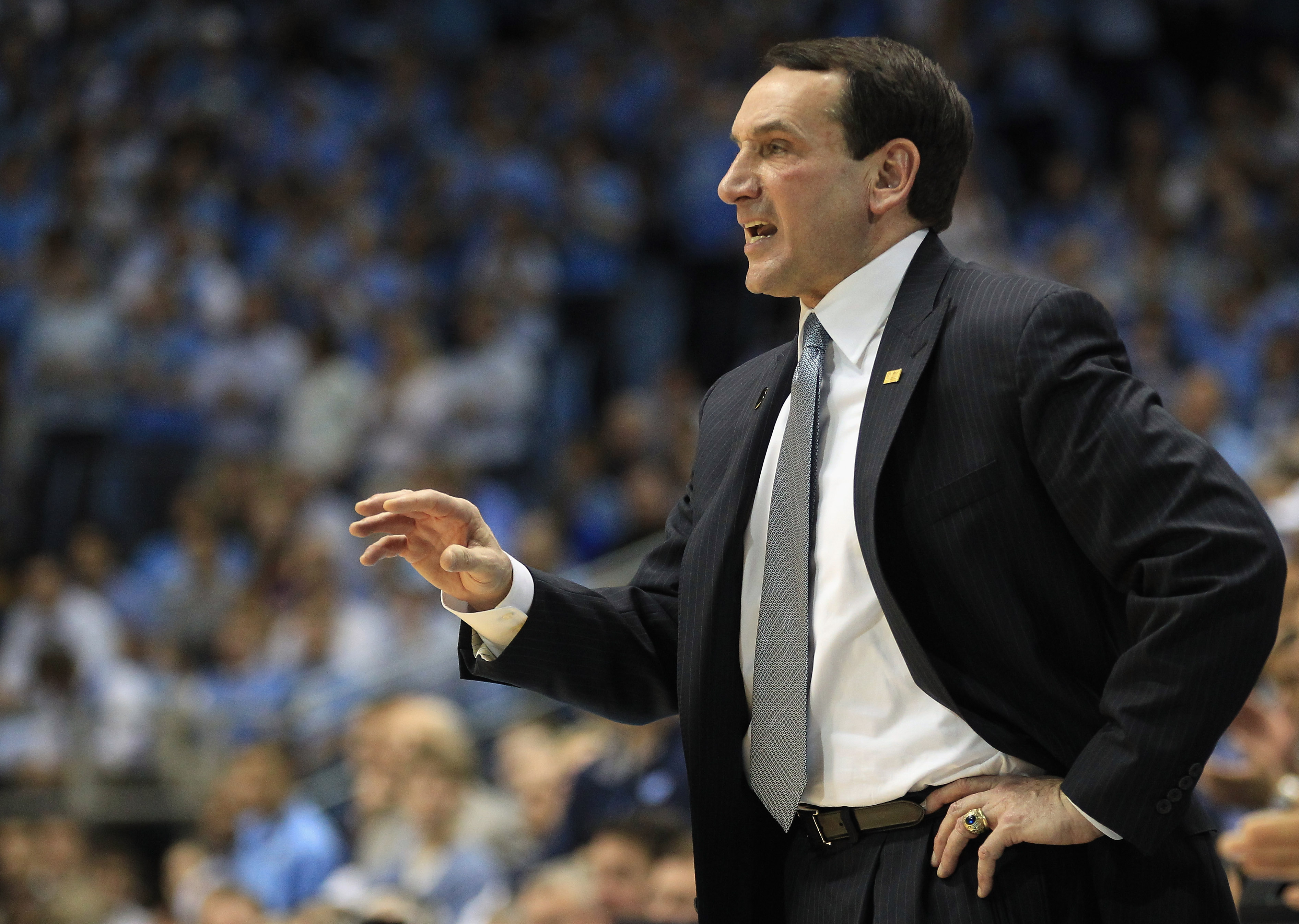 CHAPEL HILL, NC - MARCH 05:  Head coach Mike Krzyzewski of the Duke Blue Devils yells to his team against the North Carolina Tar Heels during their game at the Dean E. Smith Center on March 5, 2011 in Chapel Hill, North Carolina.  (Photo by Streeter Lecka