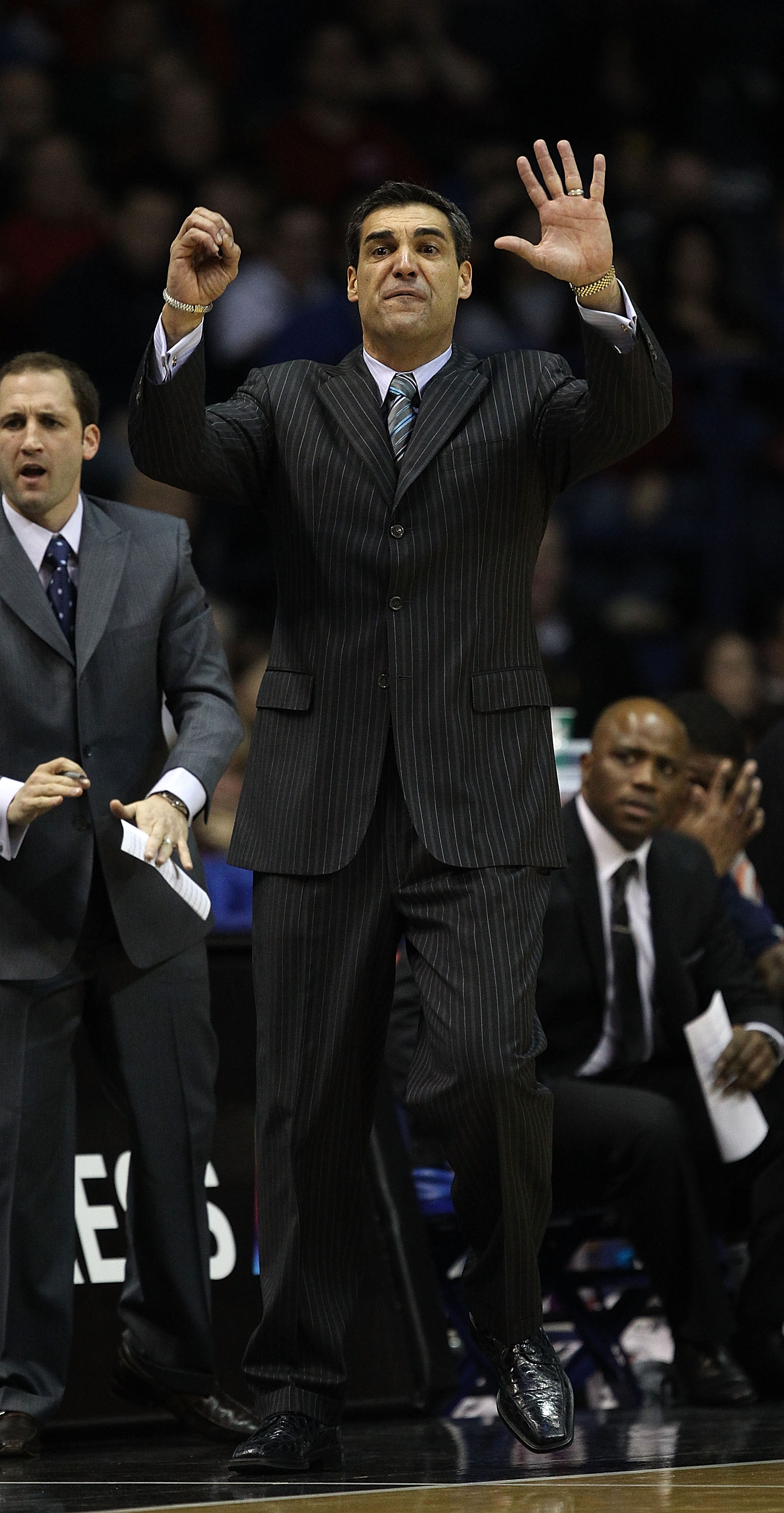 ROSEMONT, IL - FEBRUARY 19: Head coach Jay Wright of the Villanova Wildcats gives insructions to his team during a game against the DePaul Blue Demons at the Allstate Arena on February 19, 2011 in Rosemont, Illinois. Villanova defeated DePaul 77-75 in ove