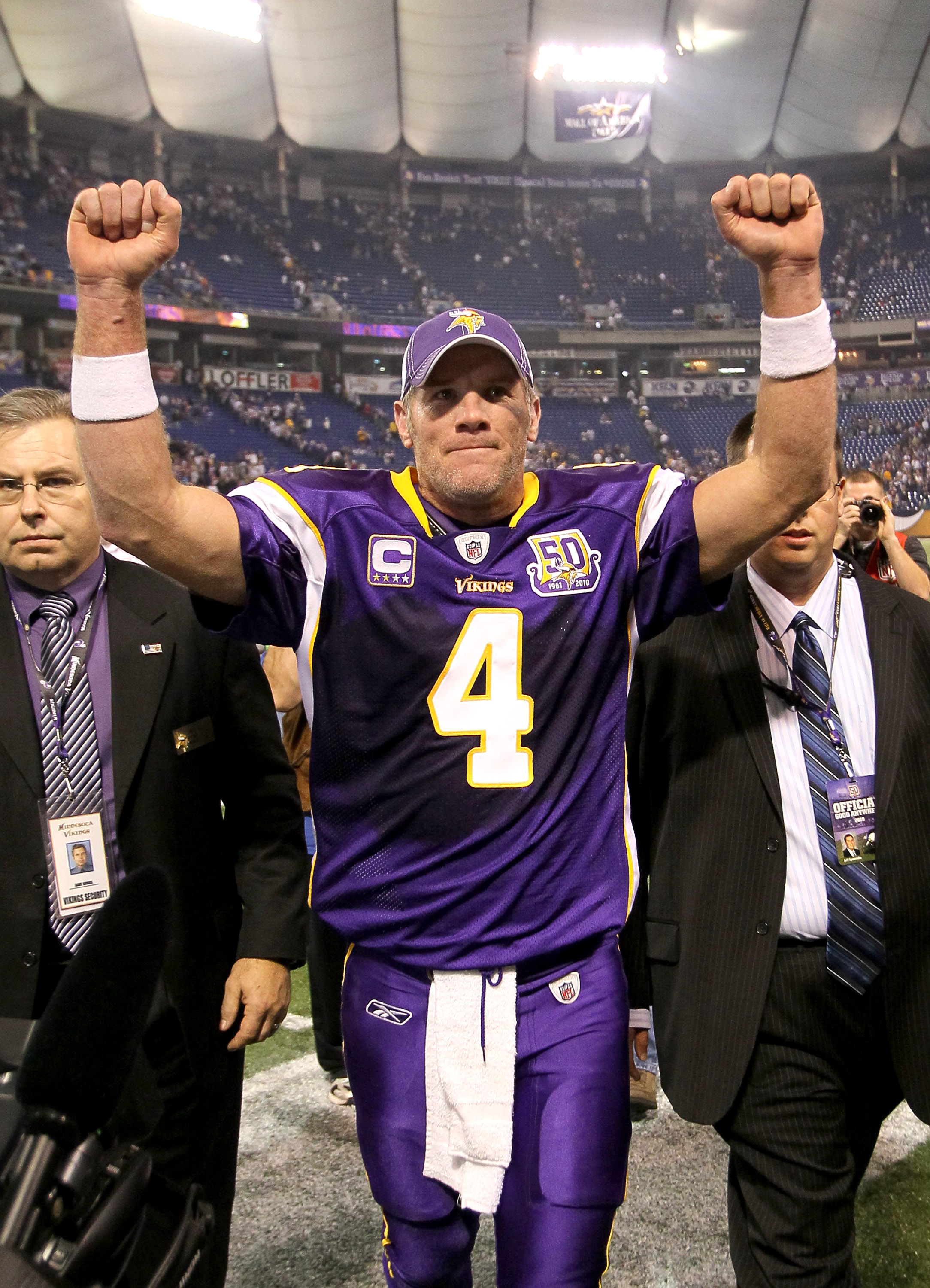 MINNEAPOLIS - NOVEMBER 7:  Quarterback Brett Favre #4 of the Minnesota Vikings celebrates as he heaves the field after the game with the Arizona Cardinals at Hubert H. Humphrey Metrodome on November 7, 2010 in Minneapolis, Minnesota.  The Vikings won 27-2