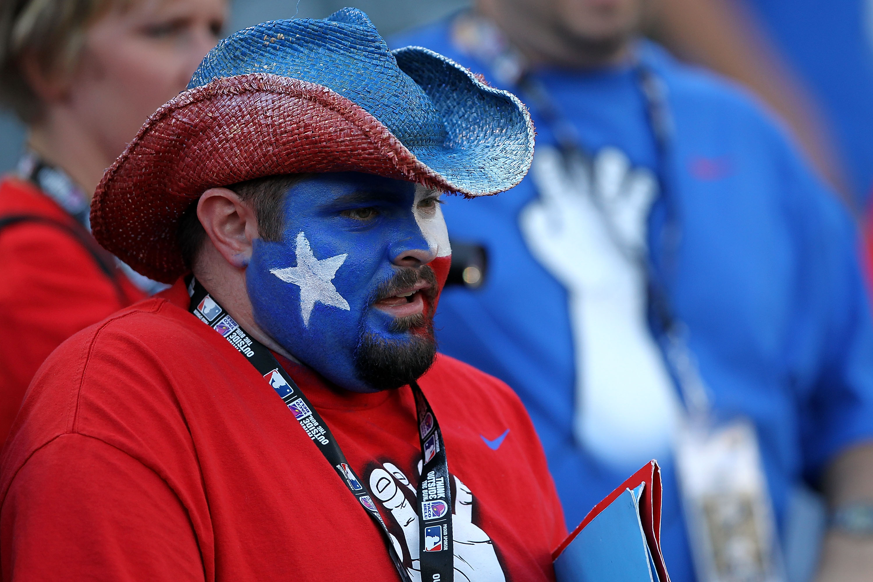 ARLINGTON, TX - NOVEMBER 01:  A fan of the Texas Rangers looks on during batting practice against the San Francisco Giants in Game Five of the 2010 MLB World Series at Rangers Ballpark in Arlington on November 1, 2010 in Arlington, Texas.  (Photo by Ronal