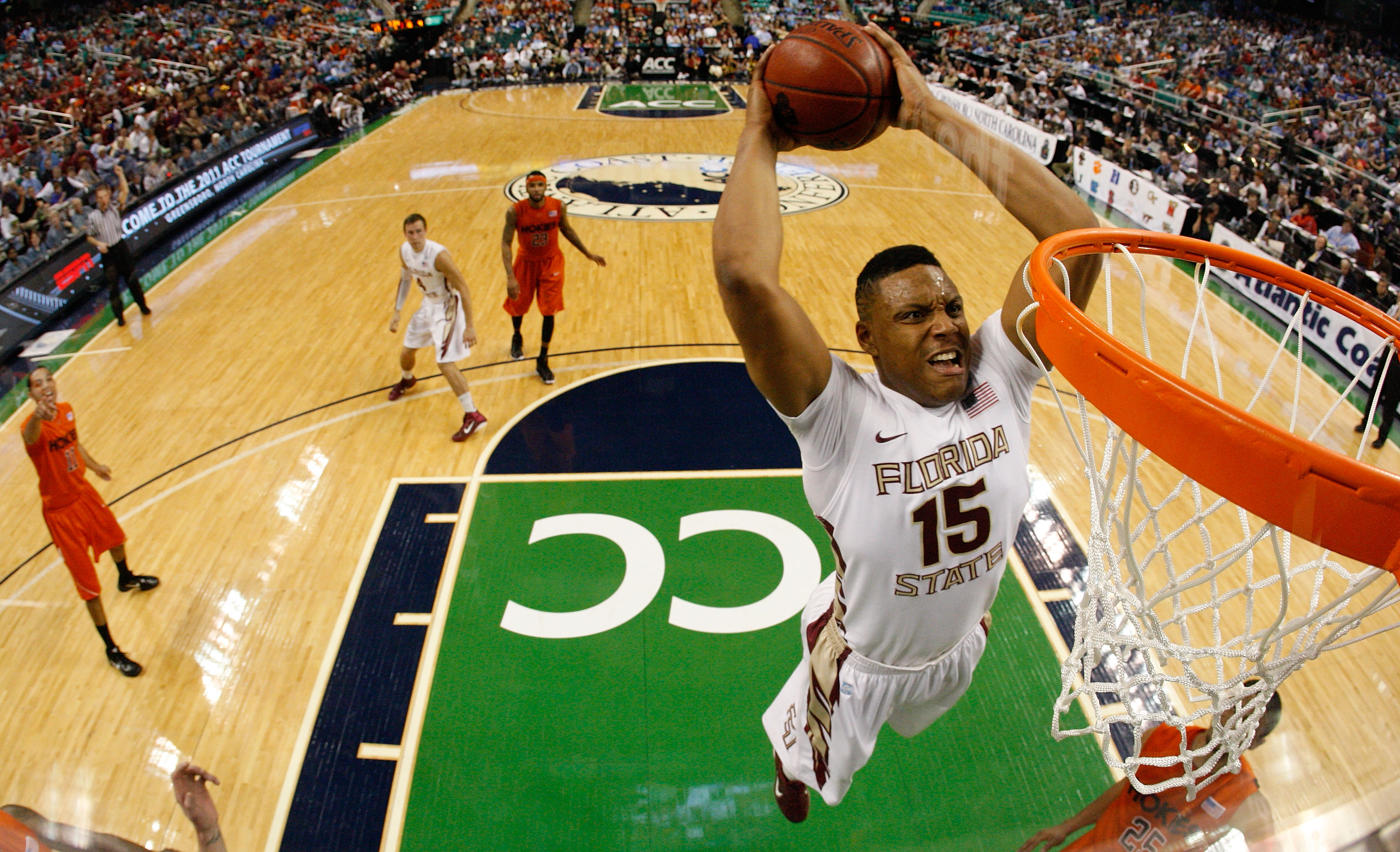 GREENSBORO, NC - MARCH 11:  Terrance Shannon #15 of the Florida State Seminoles shoots against the Virginia Tech Hokies in the quarterfinals of the 2011 ACC men's basketball tournament at the Greensboro Coliseum on March 11, 2011 in Greensboro, North Caro