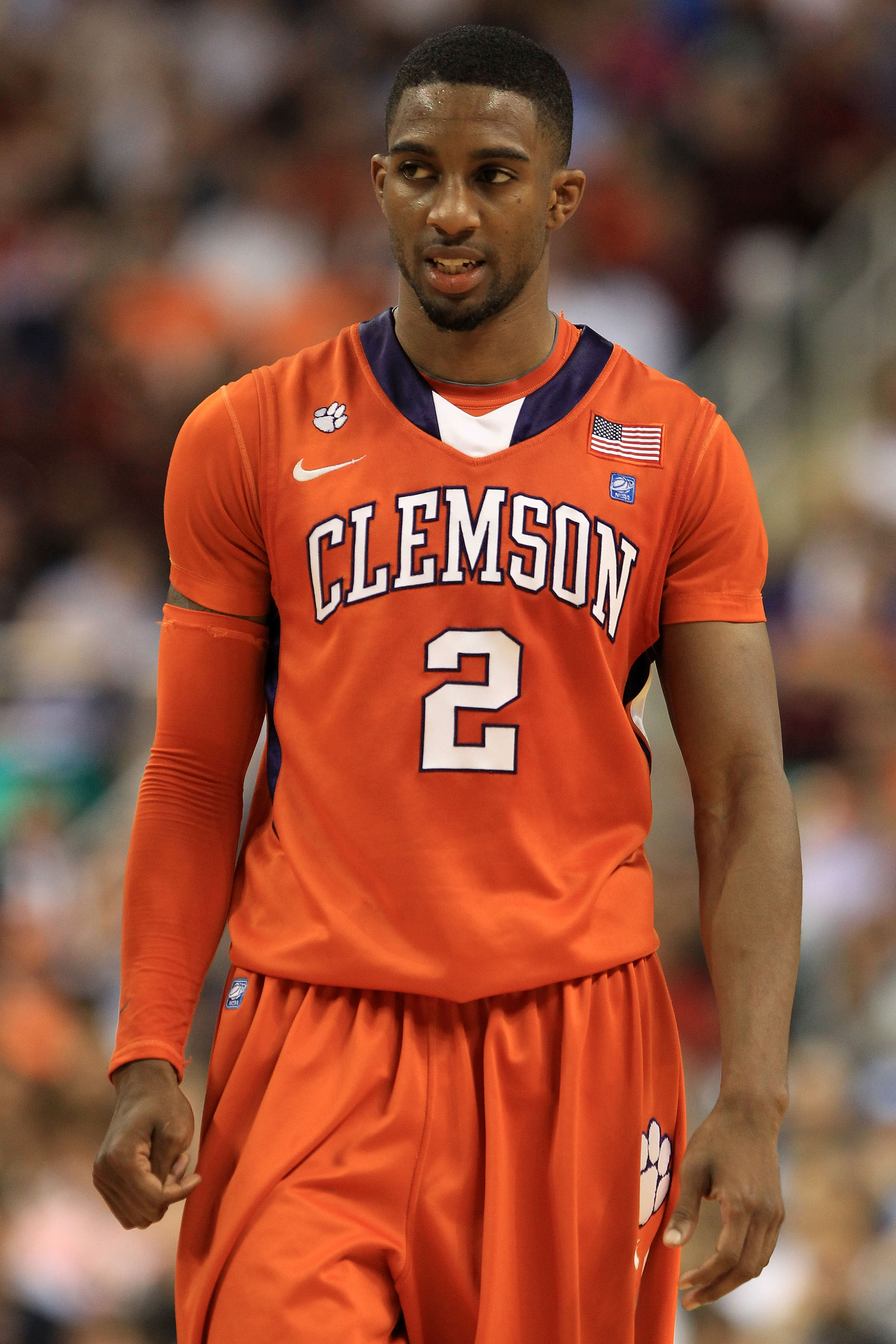 GREENSBORO, NC - MARCH 12:  Demontez Stitt #2 of the Clemson Tigers reacts while playing the North Carolina Tar Heels during overtime in the semifinals of the 2011 ACC men's basketball tournament at the Greensboro Coliseum on March 12, 2011 in Greensboro,