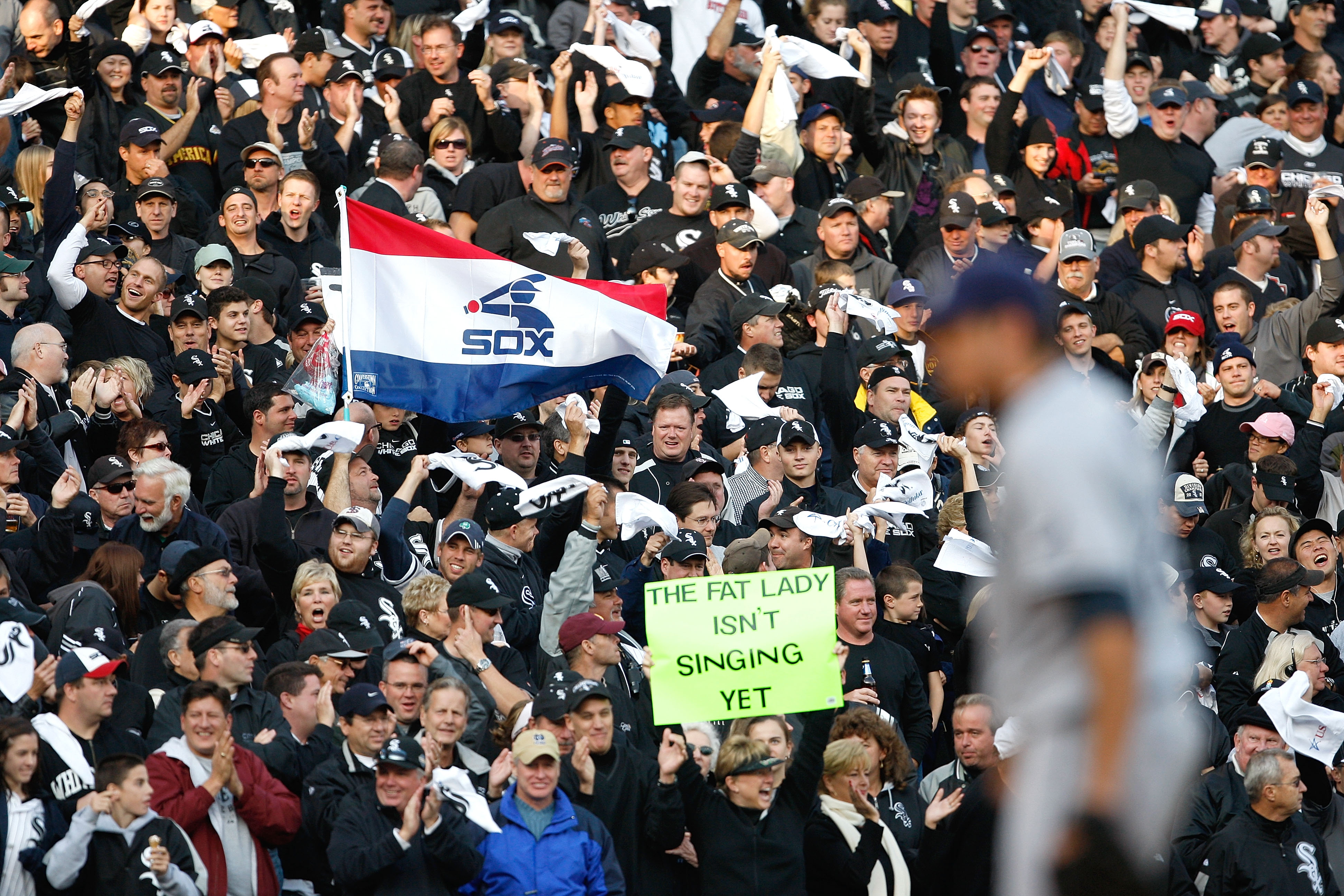 CHICAGO - OCTOBER 05:  Fans of the Chicago White Sox support their team as starting pitcher Matt Garza #22 (foreground) of  the Tampa Bay Rays stands on the mound in Game Three of the ALDS during the 2008 MLB Playoffs at U.S. Cellular Field on October 5,
