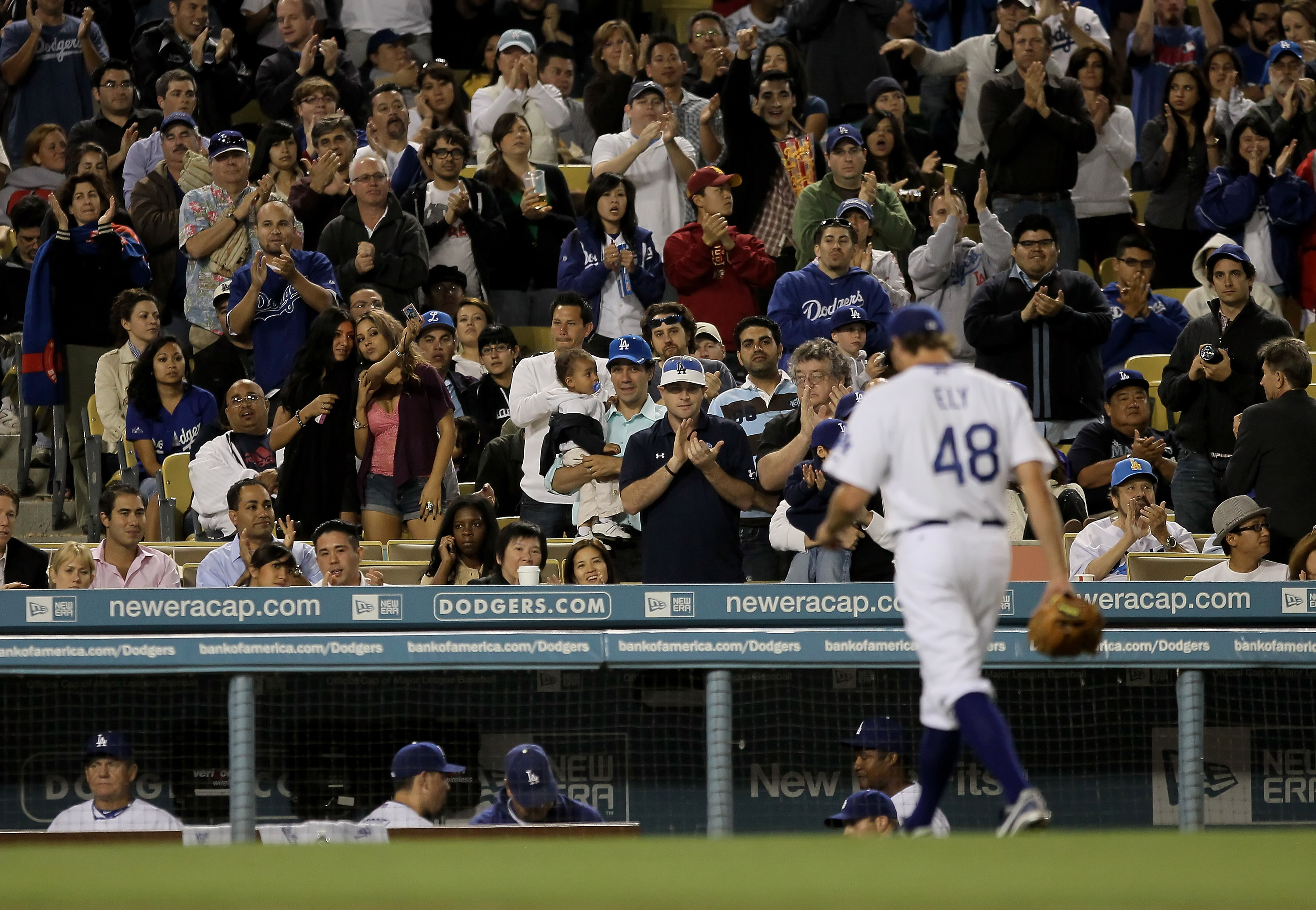 LOS ANGELES, CA - MAY 06:  Fans applaud starting pitcher John Ely #48 of the Los Angeles Dodgers as he comes out of the game in the seventh inning against the Milwaukee Brewers at Dodger Stadium on May 6, 2010 in Los Angeles, California.  (Photo by Jeff G