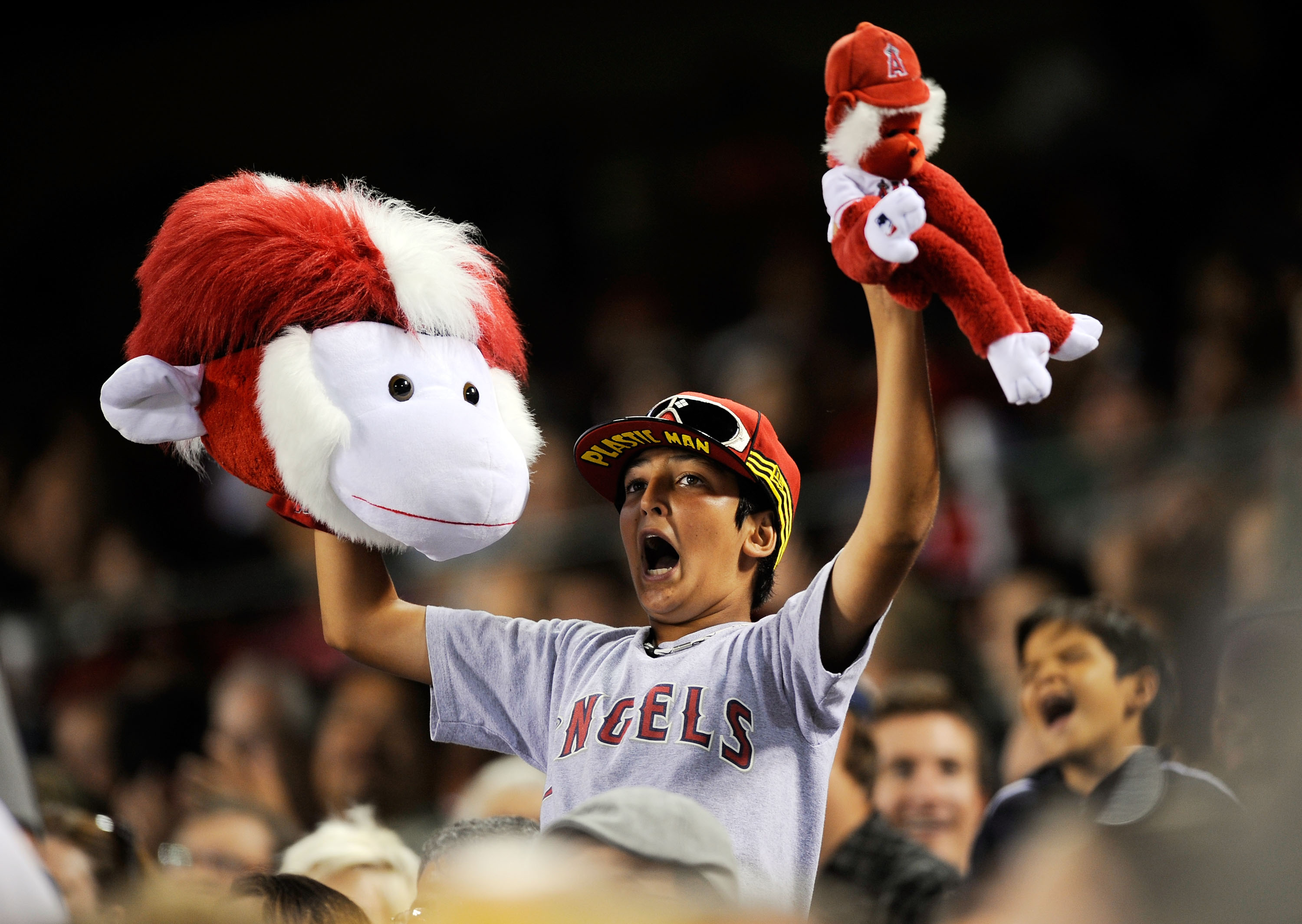 ANAHEIM, CA - JULY 23:  A fan holds up his rally monkeys in support of  the Los Angeles Angels of Anaheim in the sixth inning of the baseball game against the Minnesota Twins on July 23, 2009 in Anaheim, California.  (Photo by Kevork Djansezian/Getty Imag