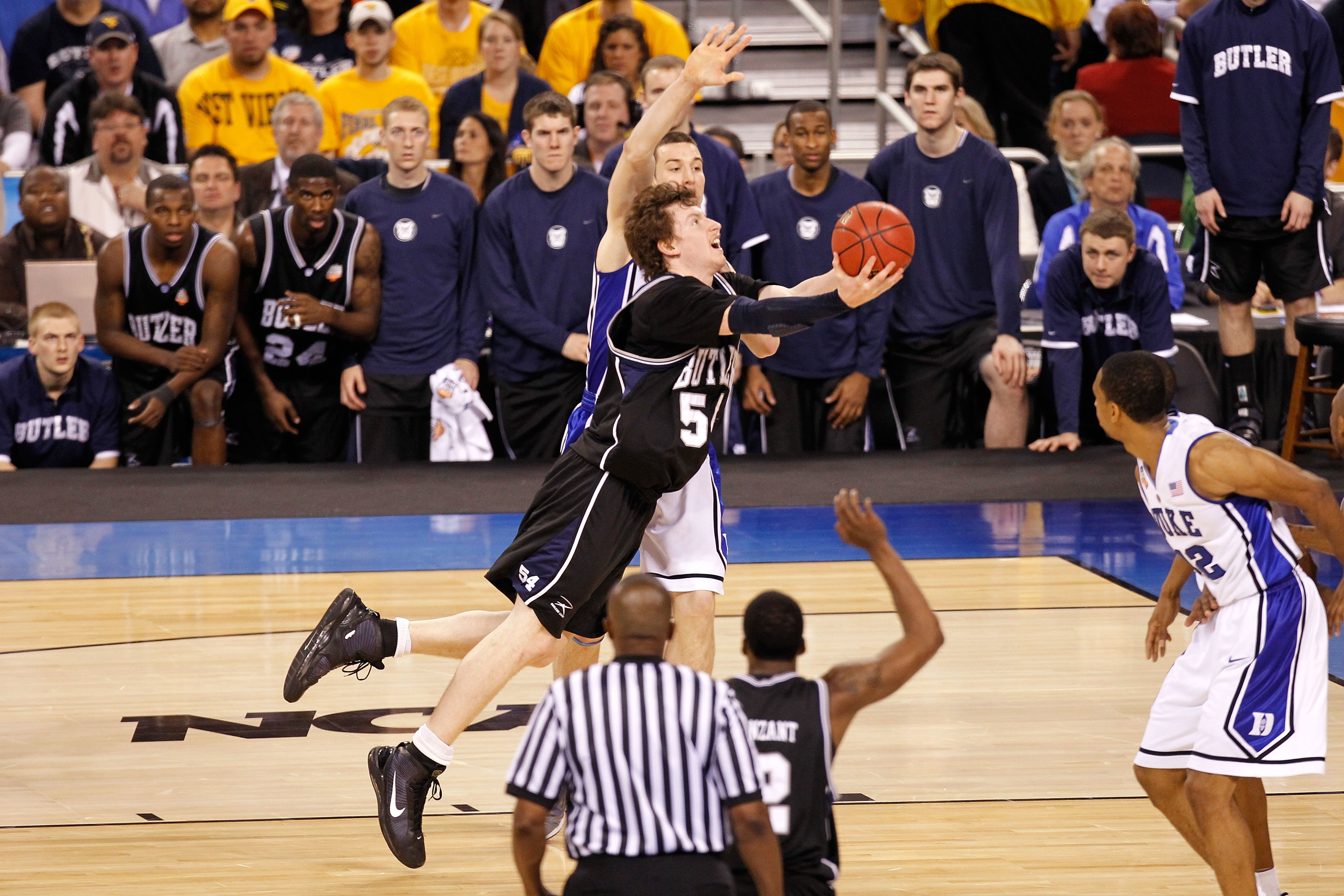 INDIANAPOLIS - APRIL 05:  Matt Howard #54 of the Butler Bulldogs drives for a shot attempt against the Duke Blue Devils during the 2010 NCAA Division I Men's Basketball National Championship game at Lucas Oil Stadium on April 5, 2010 in Indianapolis, Indi