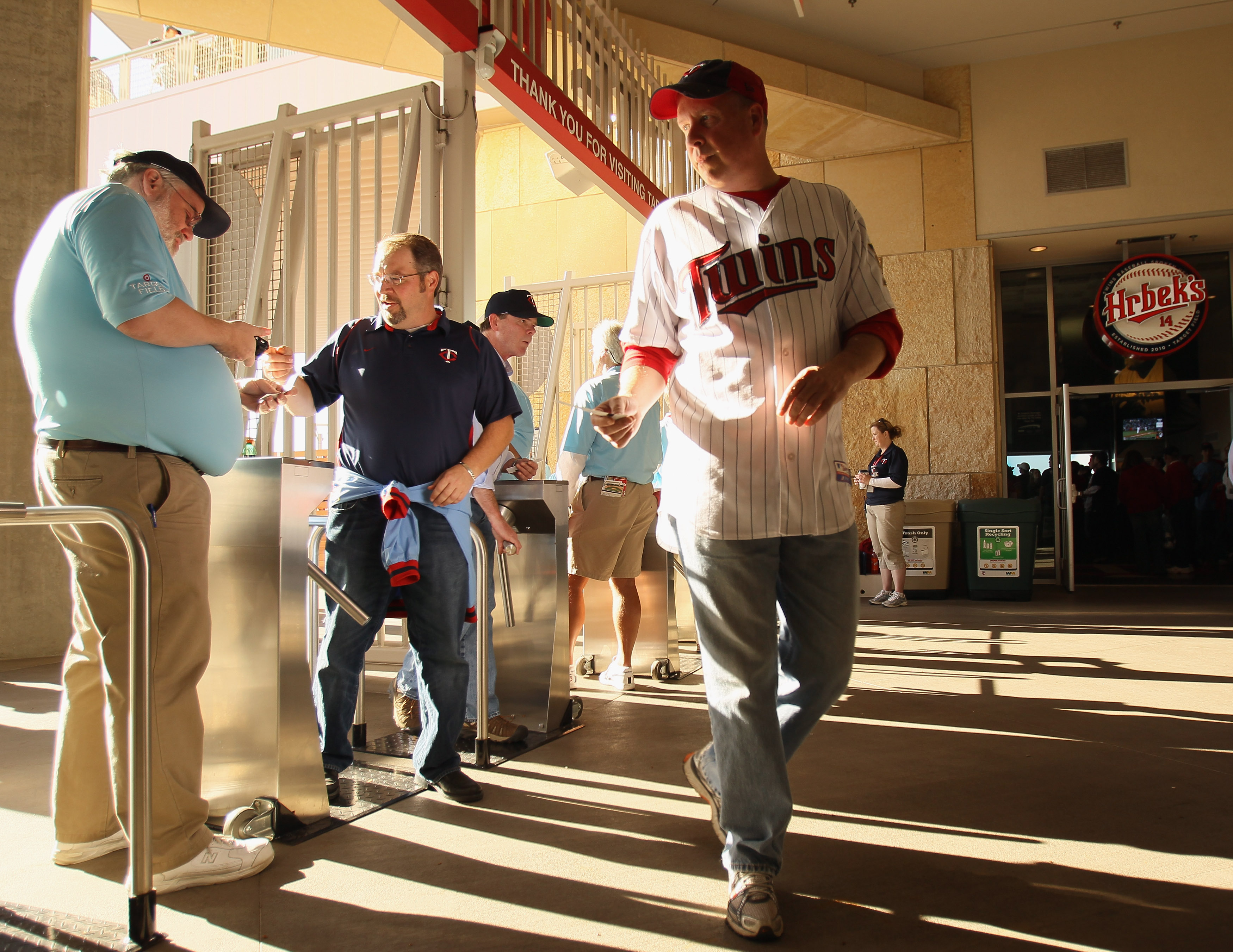 MINNEAPOLIS - OCTOBER 07:  Fans enter the stadium before the game between the Minnesota Twins and the New York Yankees for game two of the ALDS on October 7, 2010 at Target Field in Minneapolis, Minnesota.  (Photo by Elsa/Getty Images)