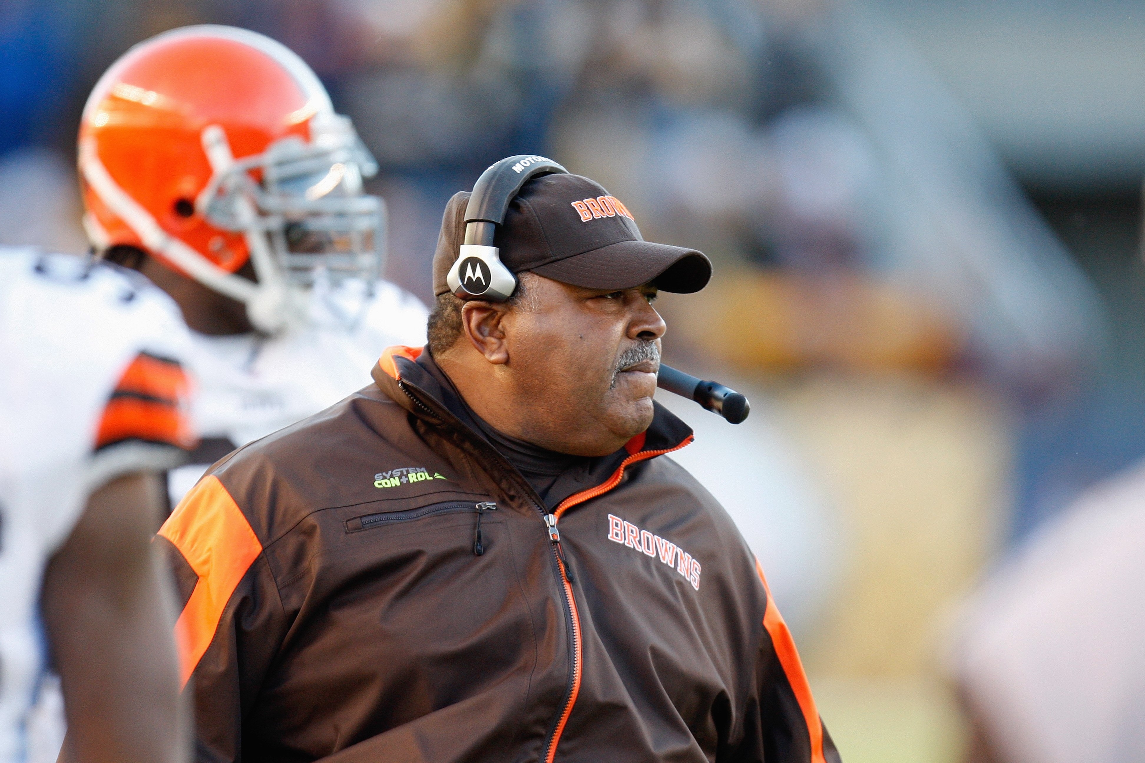 PITTSBURGH - DECEMBER 28:  Head coach Romeo Crennel of the Cleveland Browns watches the action from the sidelines during the game against the Pittsburgh Steelers on December 28, 2008 at Heinz Field in Pittsburgh, Pennsylvania. (Photo by: Gregory Shamus/Ge