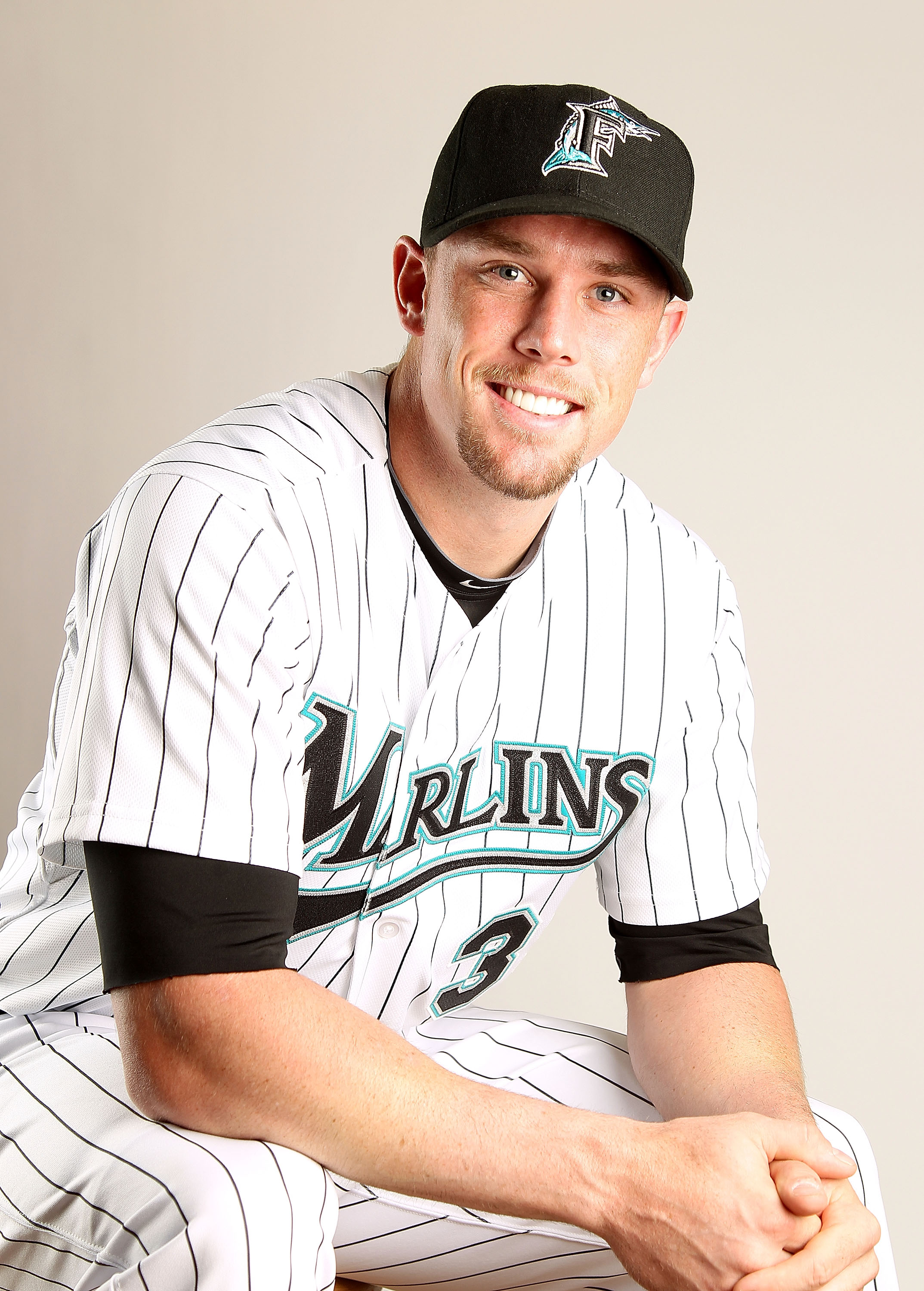 JUPITER, FL - FEBRUARY 23:  Scott Cousins #33 of the Florida Marlins during Photo Day at Roger Dean Stadium on February 23, 2011 in Jupiter, Florida.  (Photo by Mike Ehrmann/Getty Images)