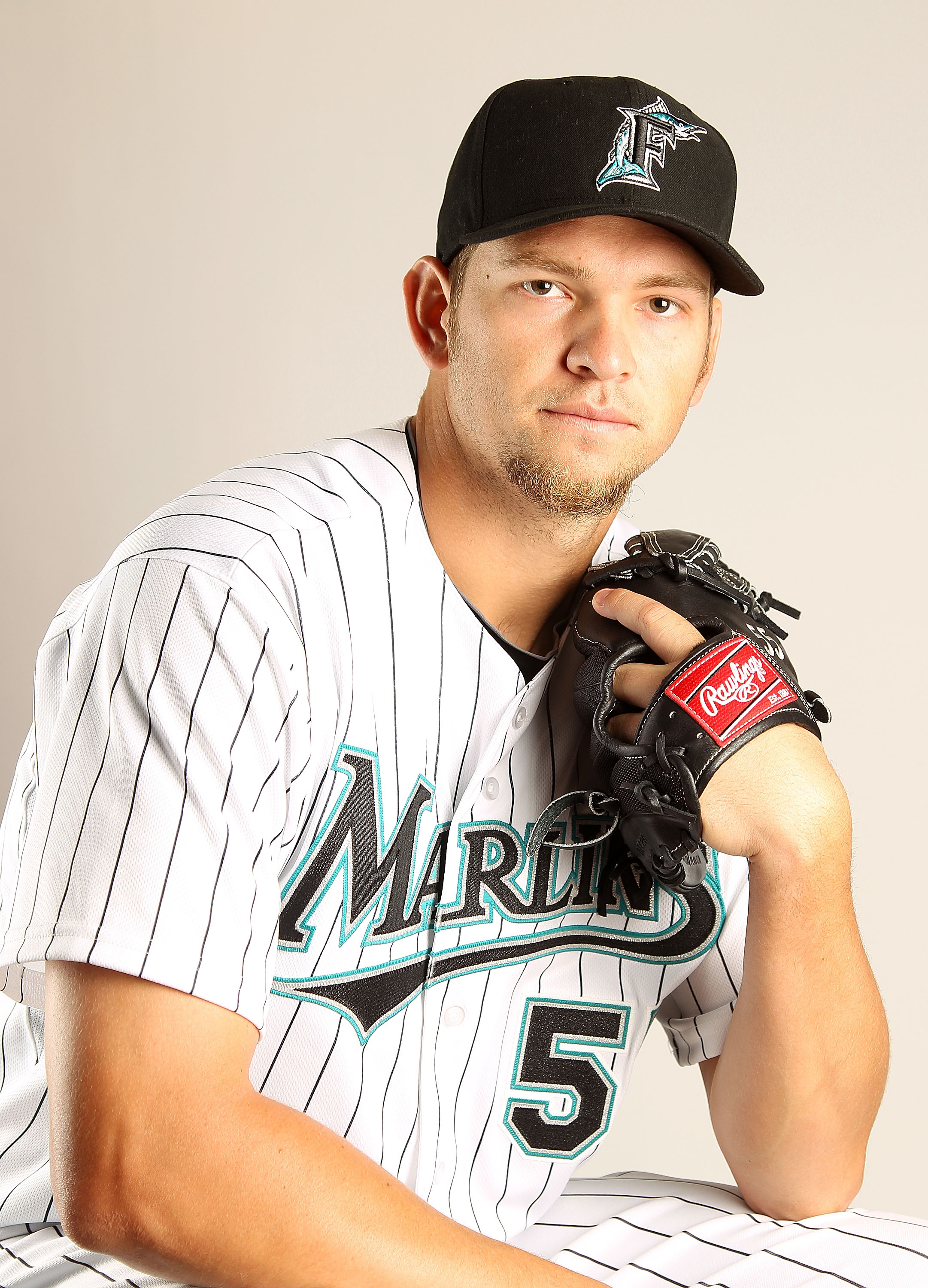 JUPITER, FL - FEBRUARY 23:  Josh Johnson #55 of the Florida Marlins during Photo Day at Roger Dean Stadium on February 23, 2011 in Jupiter, Florida.  (Photo by Mike Ehrmann/Getty Images)