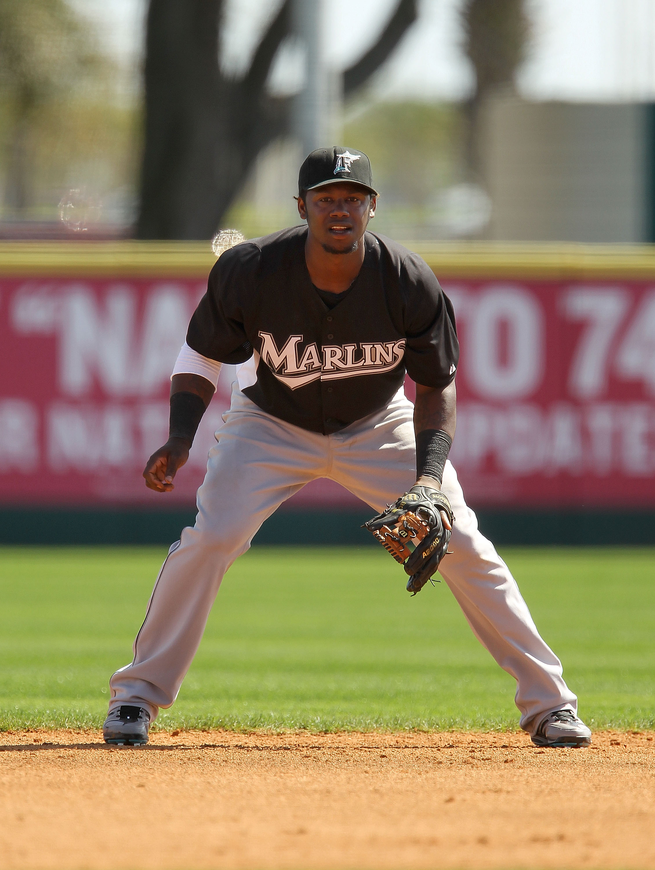 VIERA, FL - MARCH 02:  Hanley Ramirez #2 of the Florida Marlins looks on  during a Spring Training game against the Washington Nationals at Space Coast Stadium on March 2, 2011 in Viera, Florida.  (Photo by Mike Ehrmann/Getty Images)