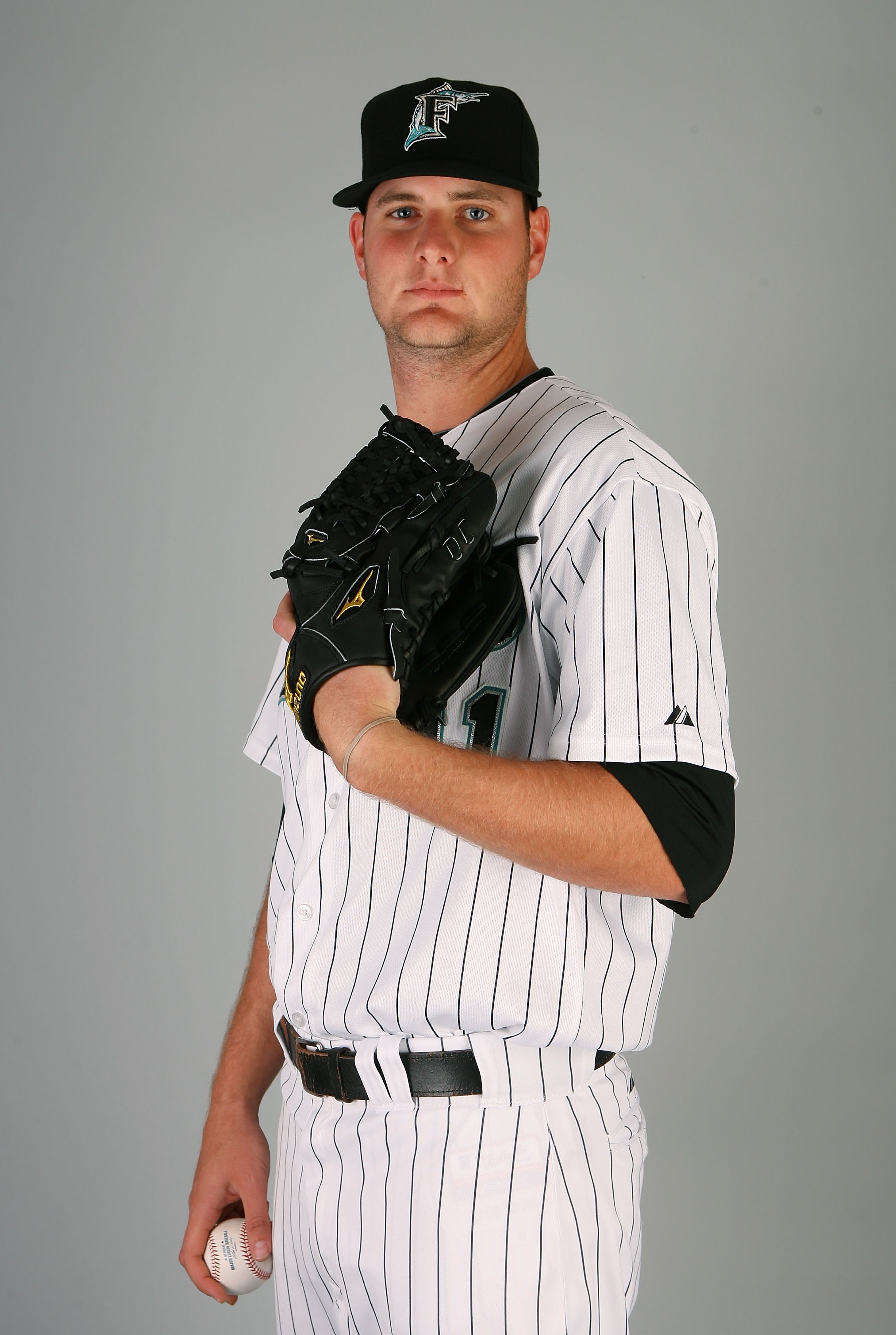 JUPITER, FL - MARCH 02:  Pitcher Chris Volstad #41 of the Florida Marlins poses during photo day at Roger Dean Stadium on March 2, 2010 in Jupiter, Florida.  (Photo by Doug Benc/Getty Images)