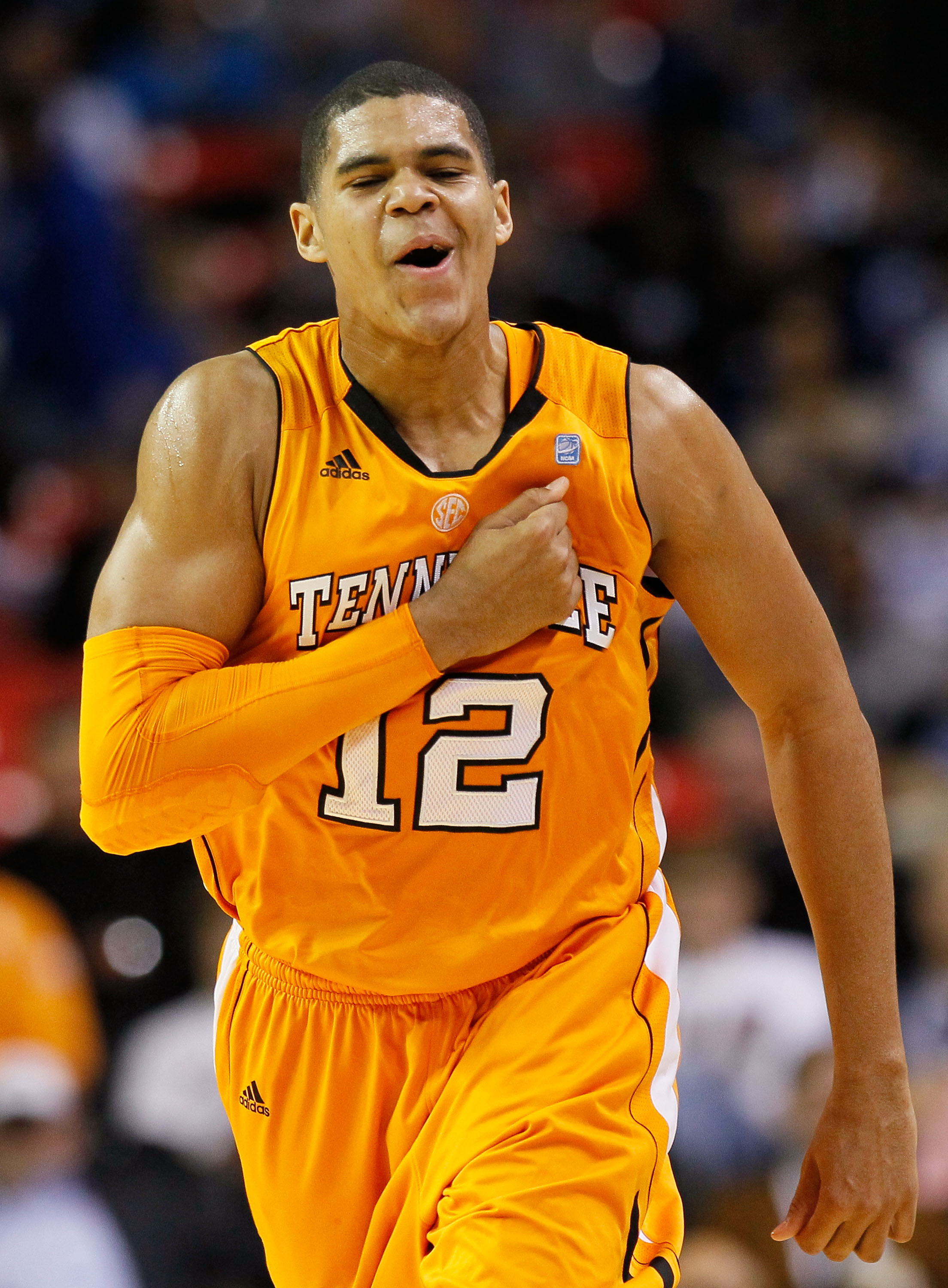 ATLANTA, GA - MARCH 11:  Tobias Harris #12 of the Tennessee Volunteers celebrates after scoring a three pointer against the Florida Gators during the quarterfinals of the SEC Men's Basketball Tournament at Georgia Dome on March 11, 2011 in Atlanta, Georgi