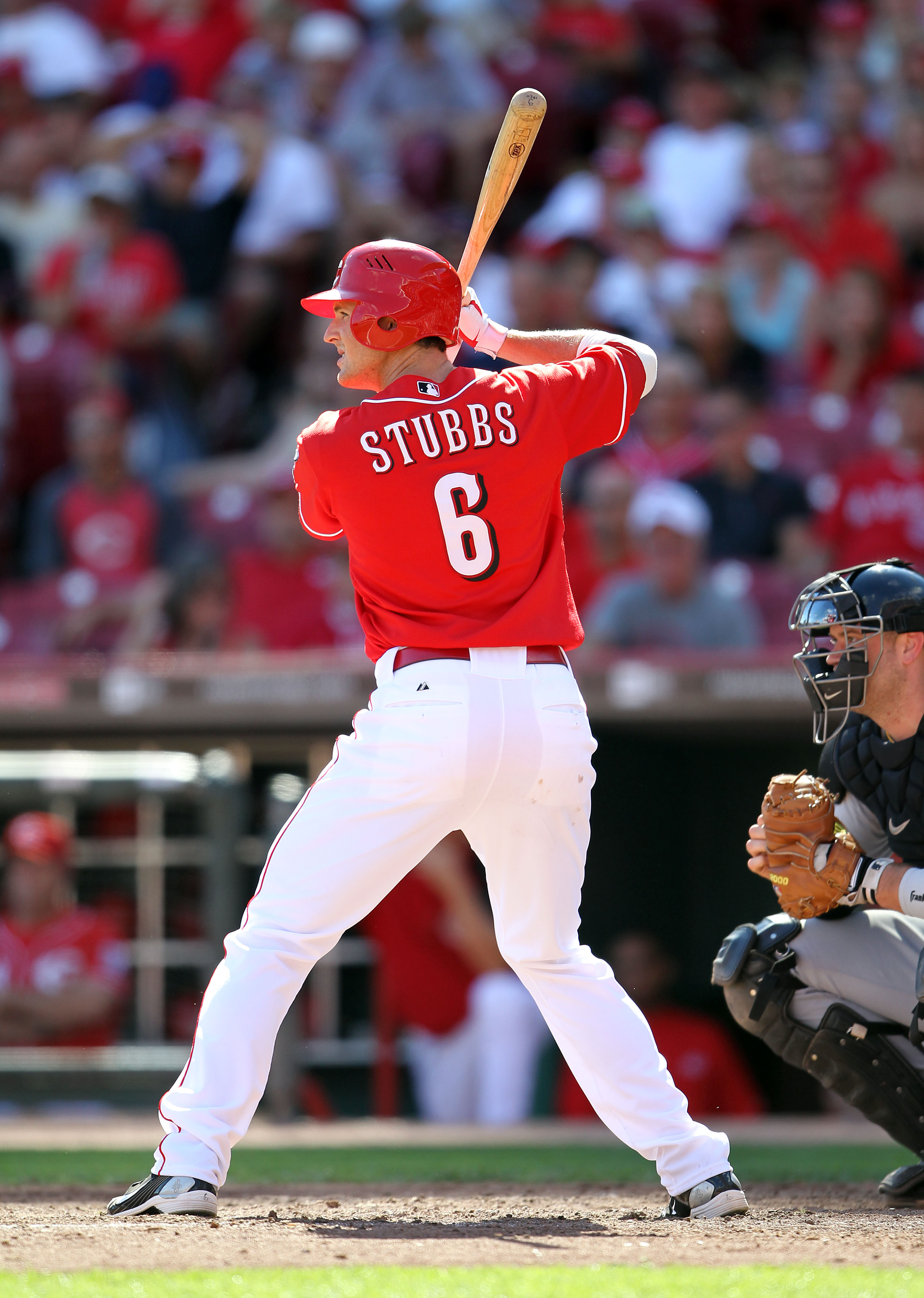 CINCINNATI - SEPTEMBER 12:  Drew Stubbs #6 of  the Cincinnati Reds is at bat during the game against the Pittsburgh Pirates at Great American Ballpark on September 12, 2010 in Cincinnati, Ohio.  (Photo by Andy Lyons/Getty Images)