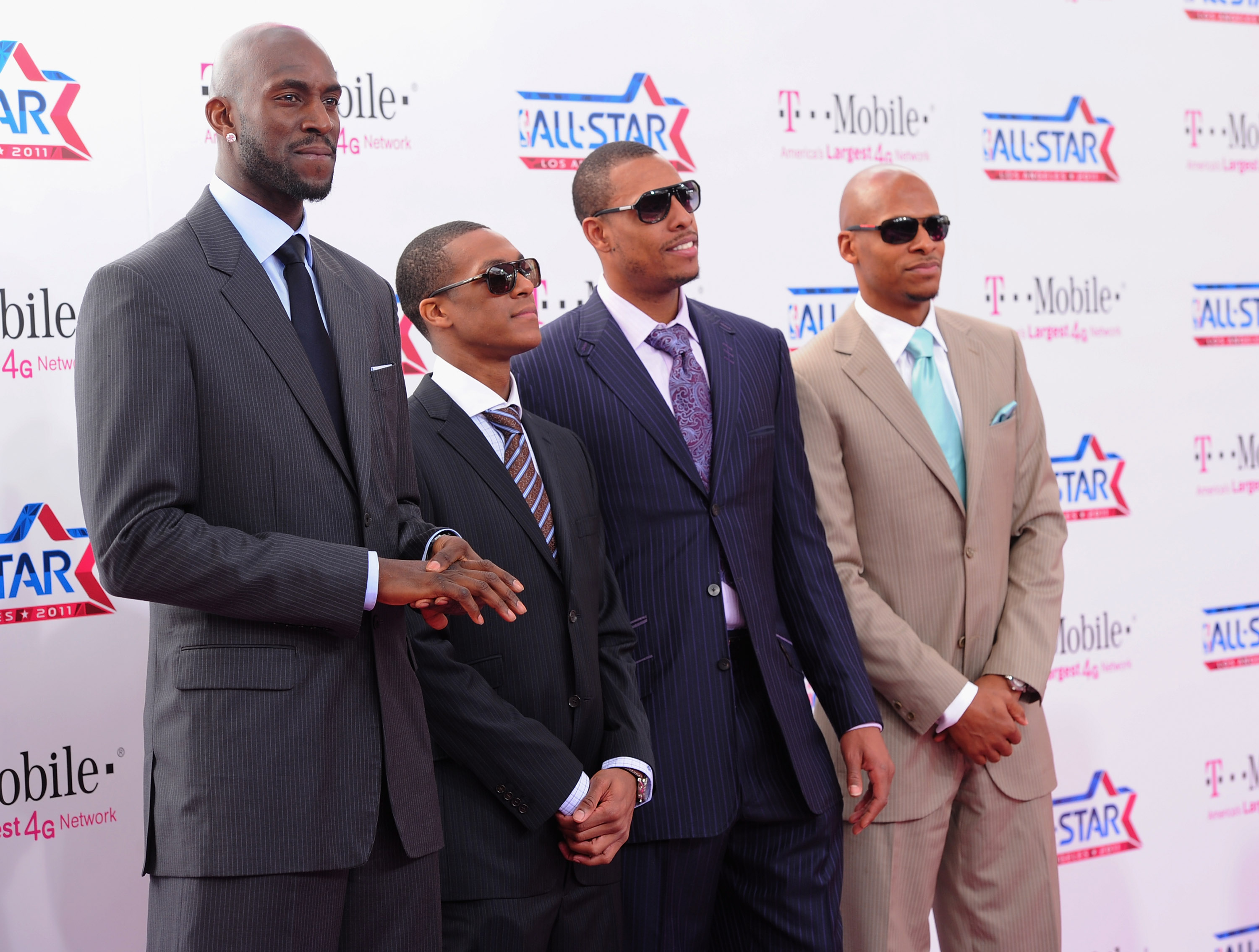 LOS ANGELES, CA - FEBRUARY 20:  NBA players Kevin Garnett, Rajon Rondo, Paul Pierce and Ray Allen arrive to the T-Mobile Magenta Carpet at the 2011 NBA All-Star Game on February 20, 2011 in Los Angeles, California.  (Photo by Alberto E. Rodriguez/Getty Im