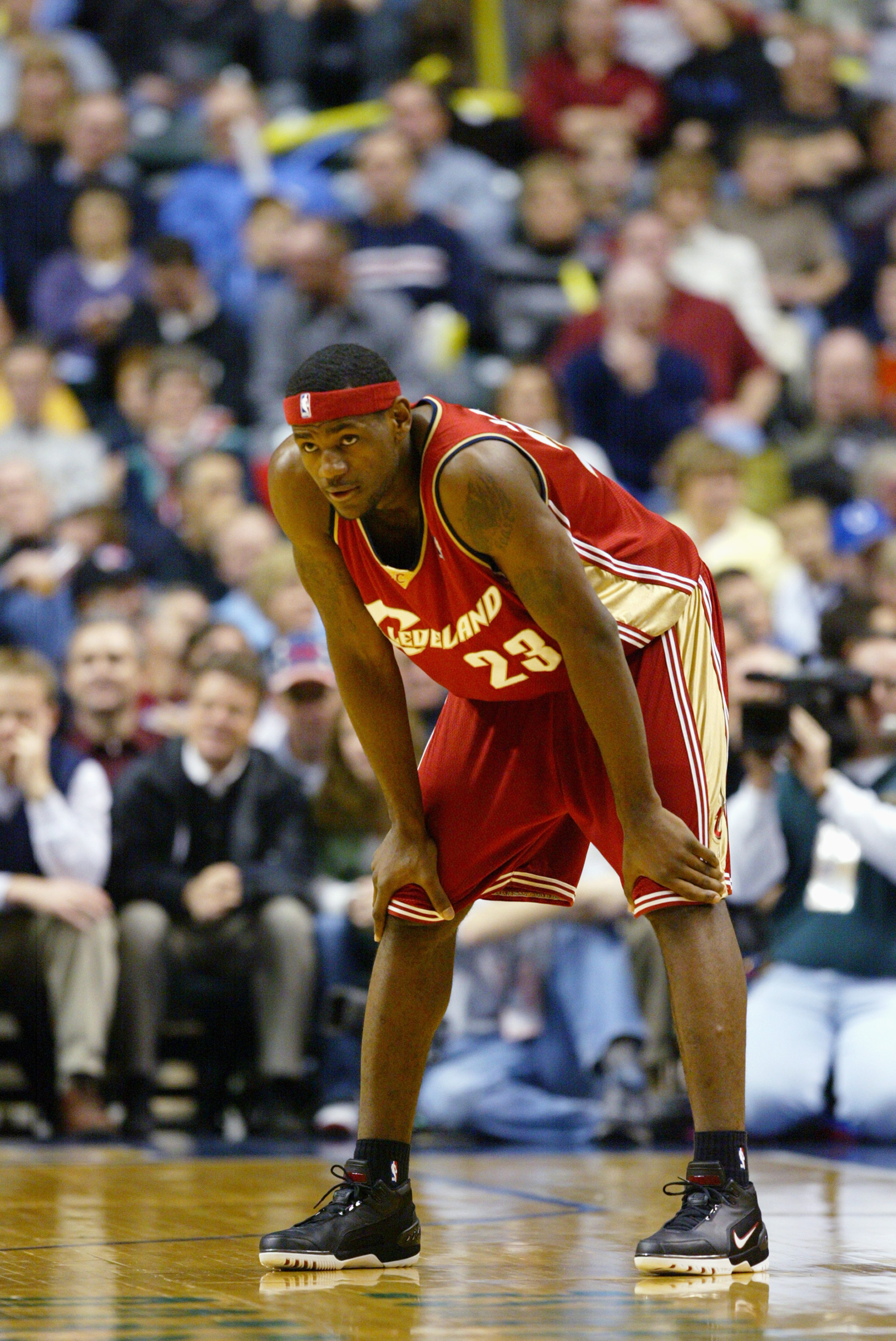 INDIANAPOLIS - DECEMBER 15:  LeBron James #23 of the Cleveland Cavaliers leans over on the court during the game against the Indiana Pacers at Conseco Fieldhouse on December 15, 2003 in Indianapolis, Indiana.  The Pacers won 95-85.  NOTE TO USER: User exp