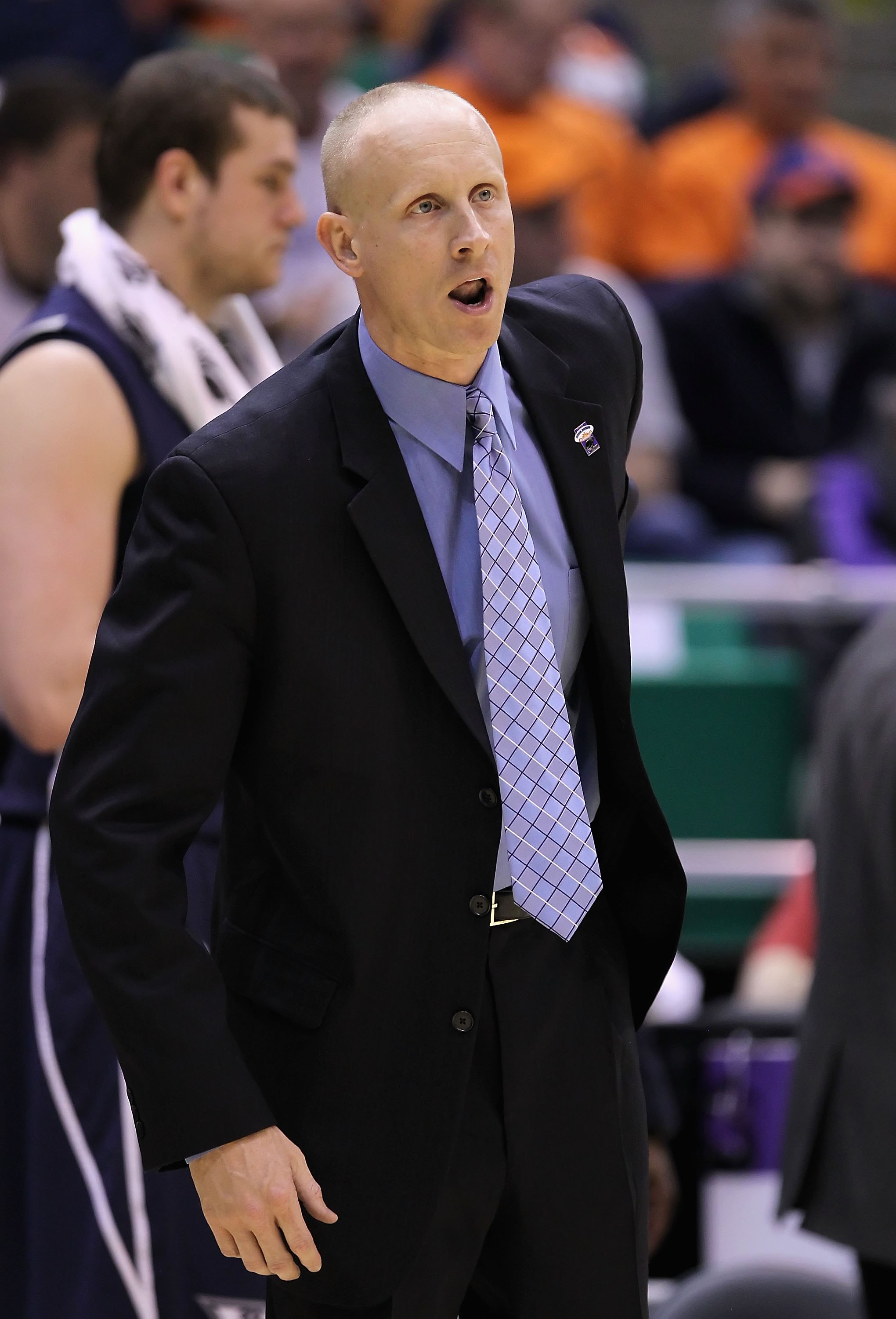 SALT LAKE CITY - MARCH 25:  Head coach Chris Mack of the Xavier Musketeers coaches during the west regional semifinal of the 2010 NCAA men's basketball against the Kansas State Wildcats tournament at the Energy Solutions Arena on March 25, 2010 in Salt La