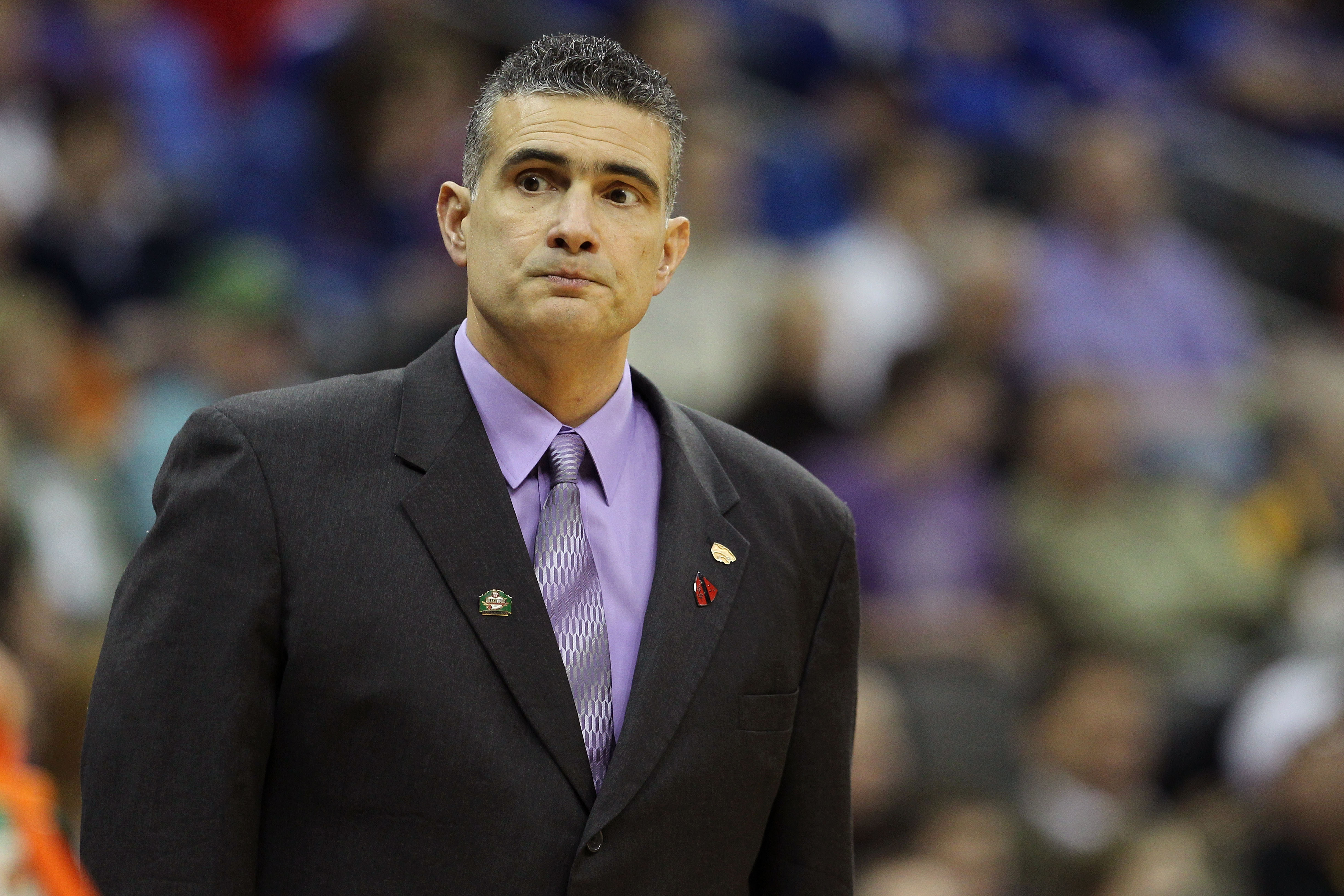 KANSAS CITY, MO - MARCH 10:  Head coach Frank Martin of the Kansas State Wildcats looks on during their quarterfinal game against the Colorado Buffaloes in the 2011 Phillips 66 Big 12 Men's Basketball Tournament at Sprint Center on March 10, 2011 in Kansa