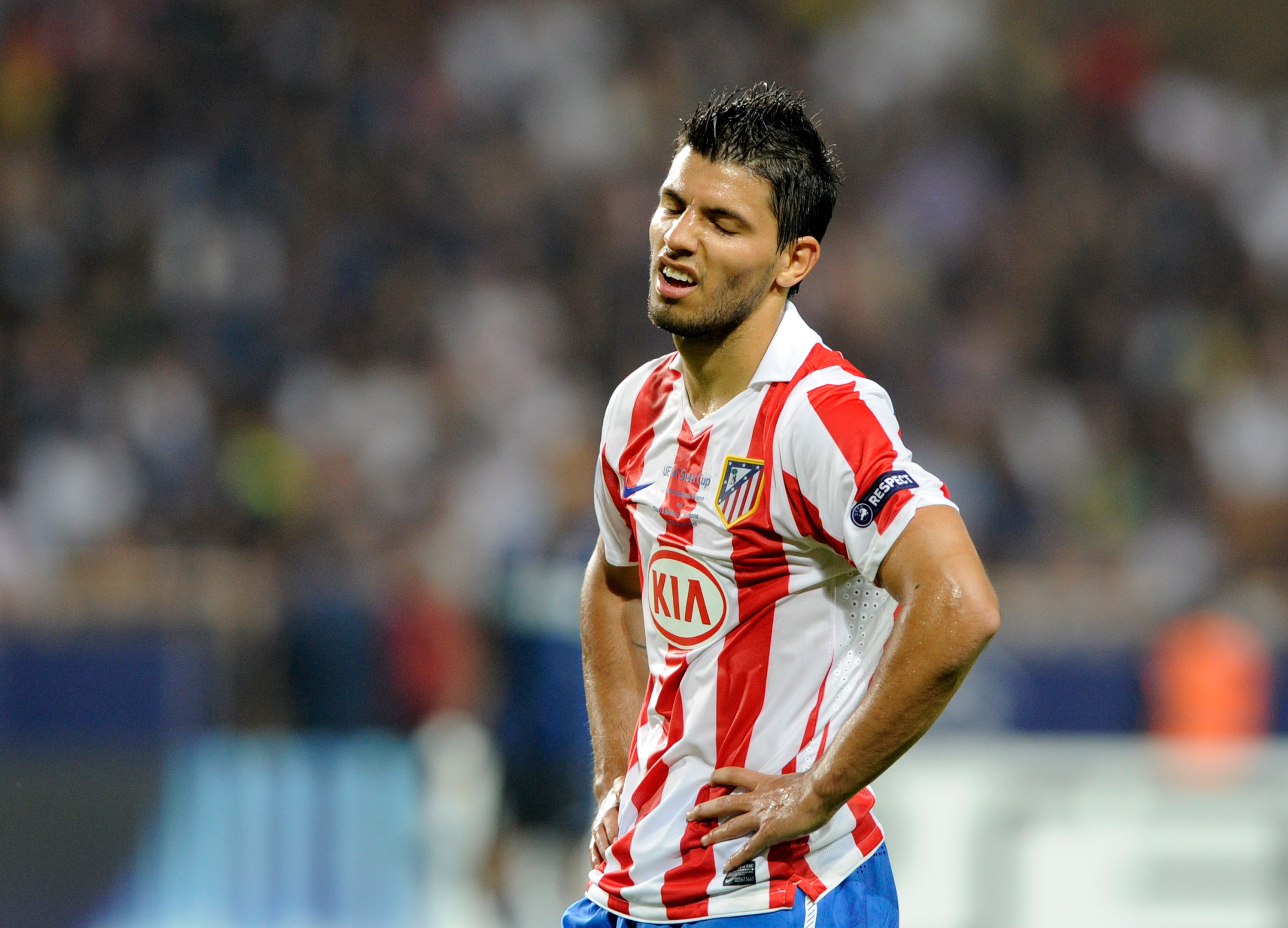 MONACO - AUGUST 27:  Sergio Aguero of Atletico Madrid dejected during the UEFA Super Cup between Inter and Atletico Madrid at Louis II Stadium on August 27, 2010 in Monaco, Monaco.  (Photo by Claudio Villa/Getty Images)