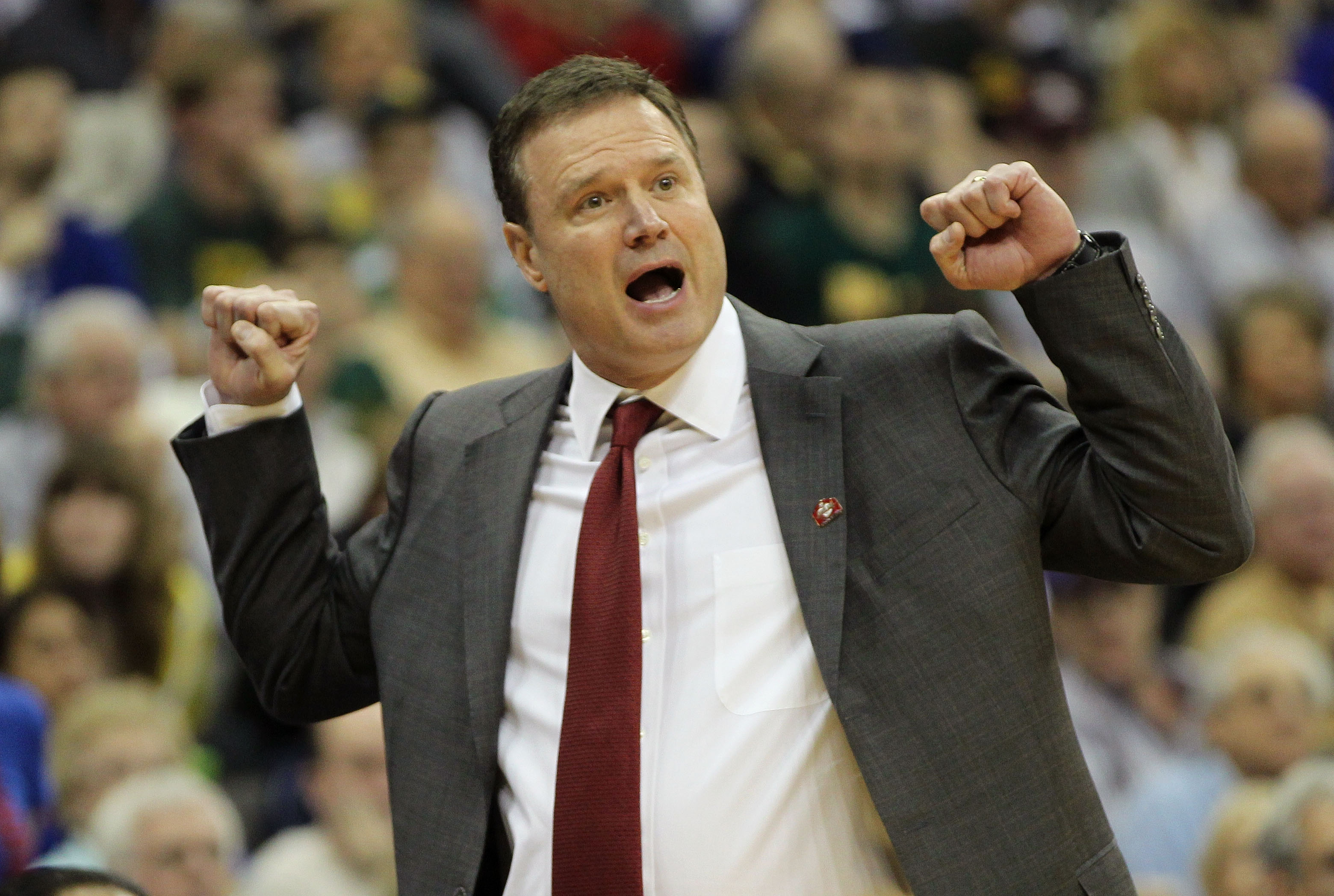 KANSAS CITY, MO - MARCH 11:  Head coach Bill Self of the Kansas Jayhawks reacts to a play during their semifinal game against the Colorado Buffaloes in the 2011 Phillips 66 Big 12 Men's Basketball Tournament at Sprint Center on March 11, 2011 in Kansas Ci