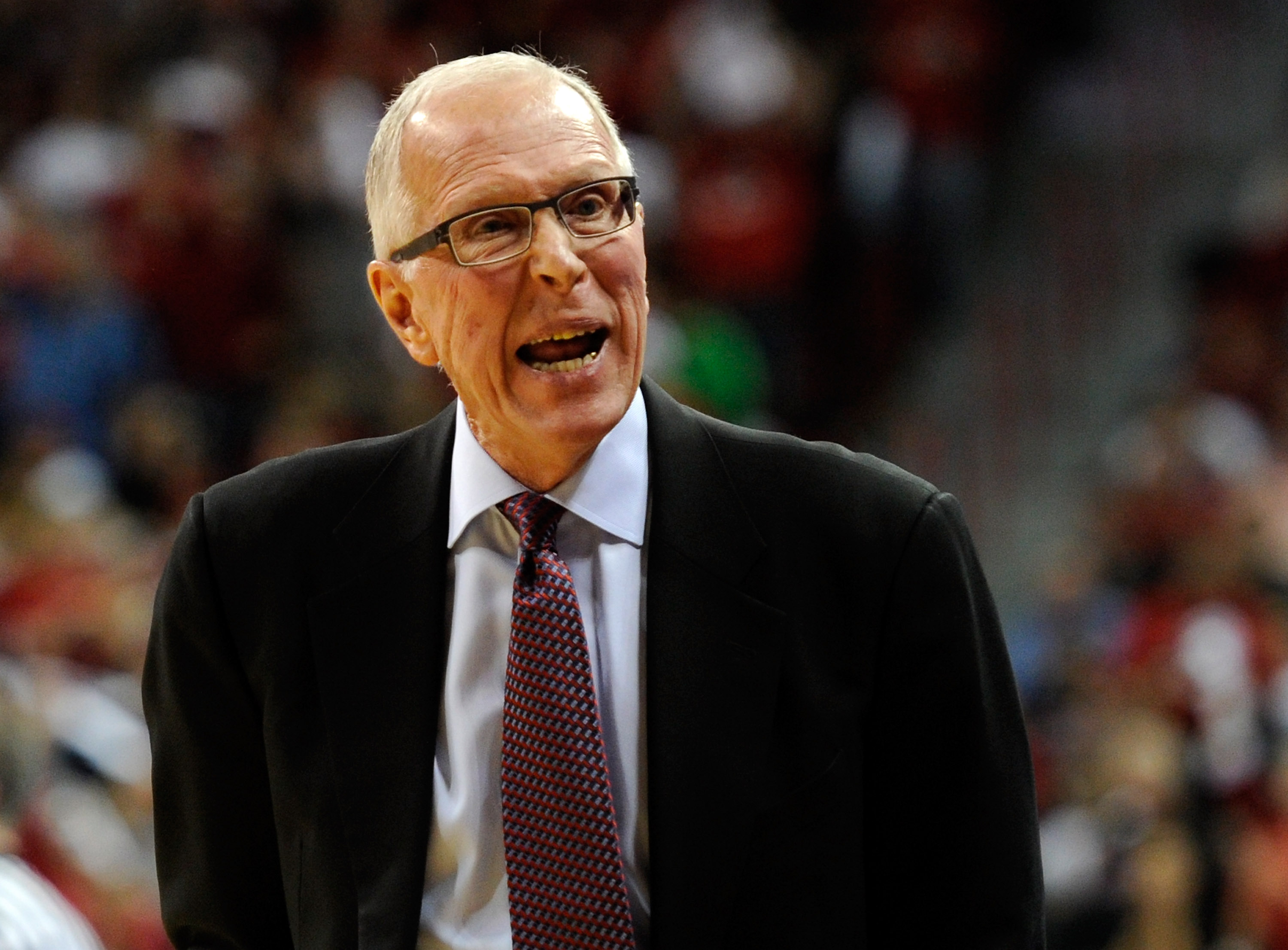LAS VEGAS, NV - FEBRUARY 12:  Head coach Steve Fisher of the San Diego State Aztecs yells at his bench during the team's game against the UNLV Rebels at the Thomas & Mack Center February 12, 2011 in Las Vegas, Nevada. San Diego State won 63-57.  (Photo by