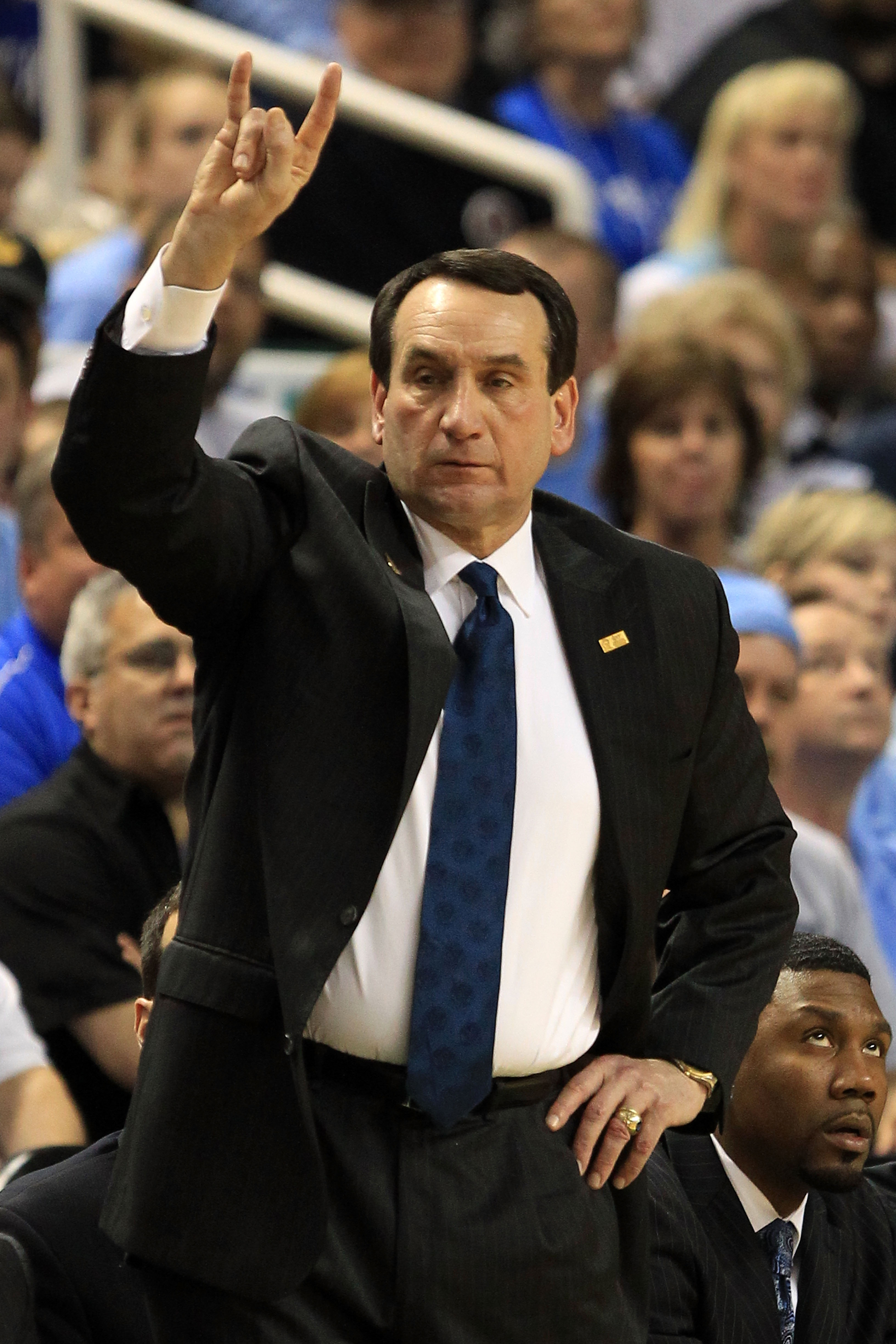 GREENSBORO, NC - MARCH 13:  Head coach Mike Krzyzewski of the Duke Blue Devils reacts during the second half in the championship game of the 2011 ACC men's basketball tournament at the Greensboro Coliseum on March 13, 2011 in Greensboro, North Carolina. D