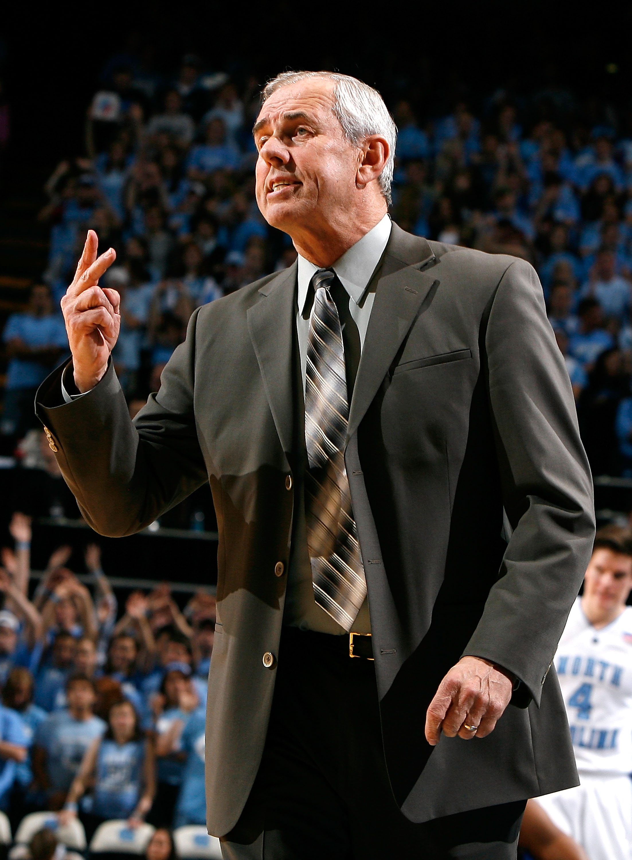 CHAPEL HILL, NC - NOVEMBER 30:  Head coach Eddie Biedenbach of the UNC Asheville Bulldogs argues with an official during the game against the North Carolina Tar Heels at the Dean E. Smith Center on November 30, 2008 in Chapel Hill, North Carolina.  (Photo