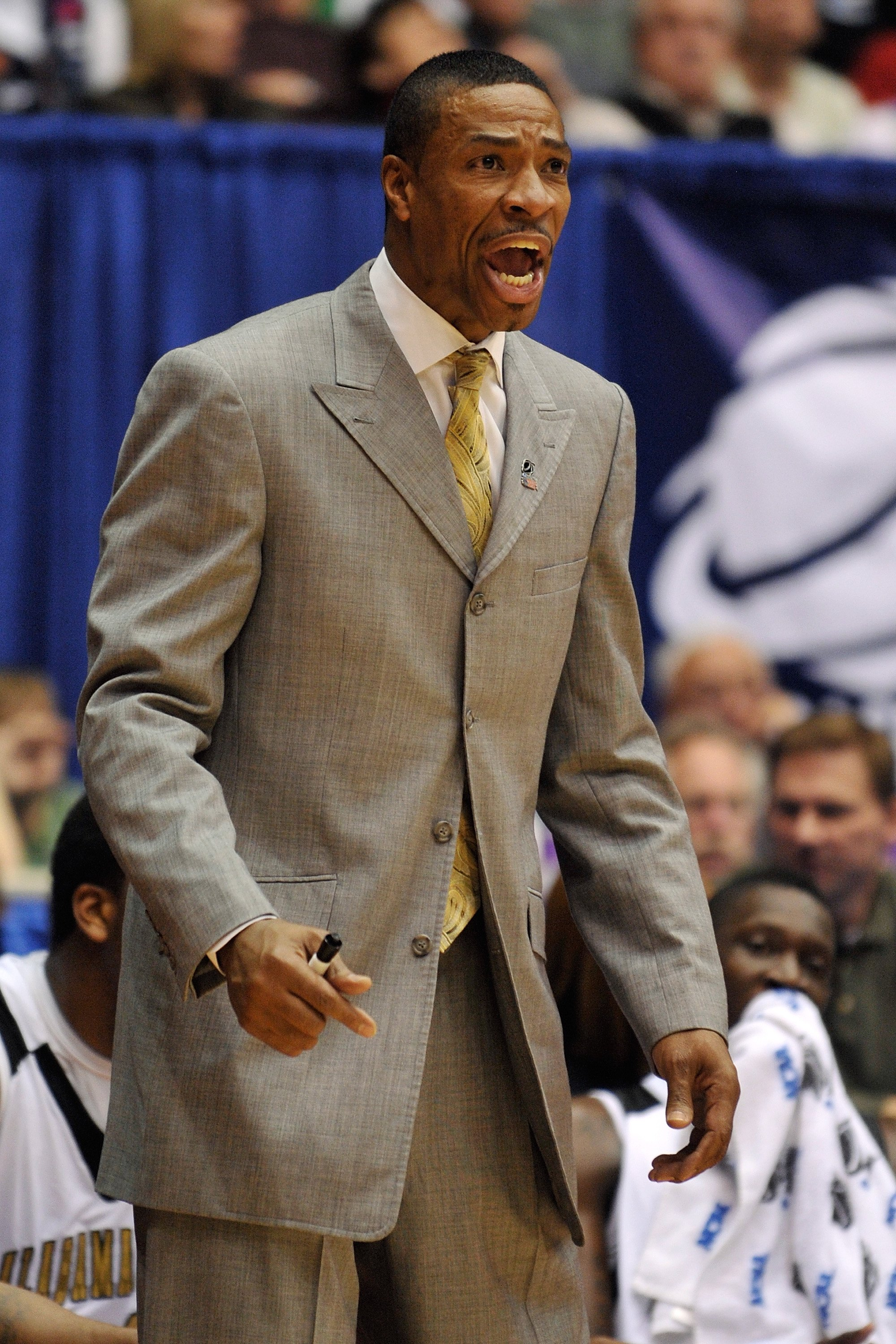 DAYTON, OH - MARCH 17: Head coach Lewis Jackson of the Alabama State Hornets shouts instructions to his team against the Morehead State Eagles during the opening round of the Men's NCAA Tournament on March 17, 2009 at the University of Dayton Arena in Day