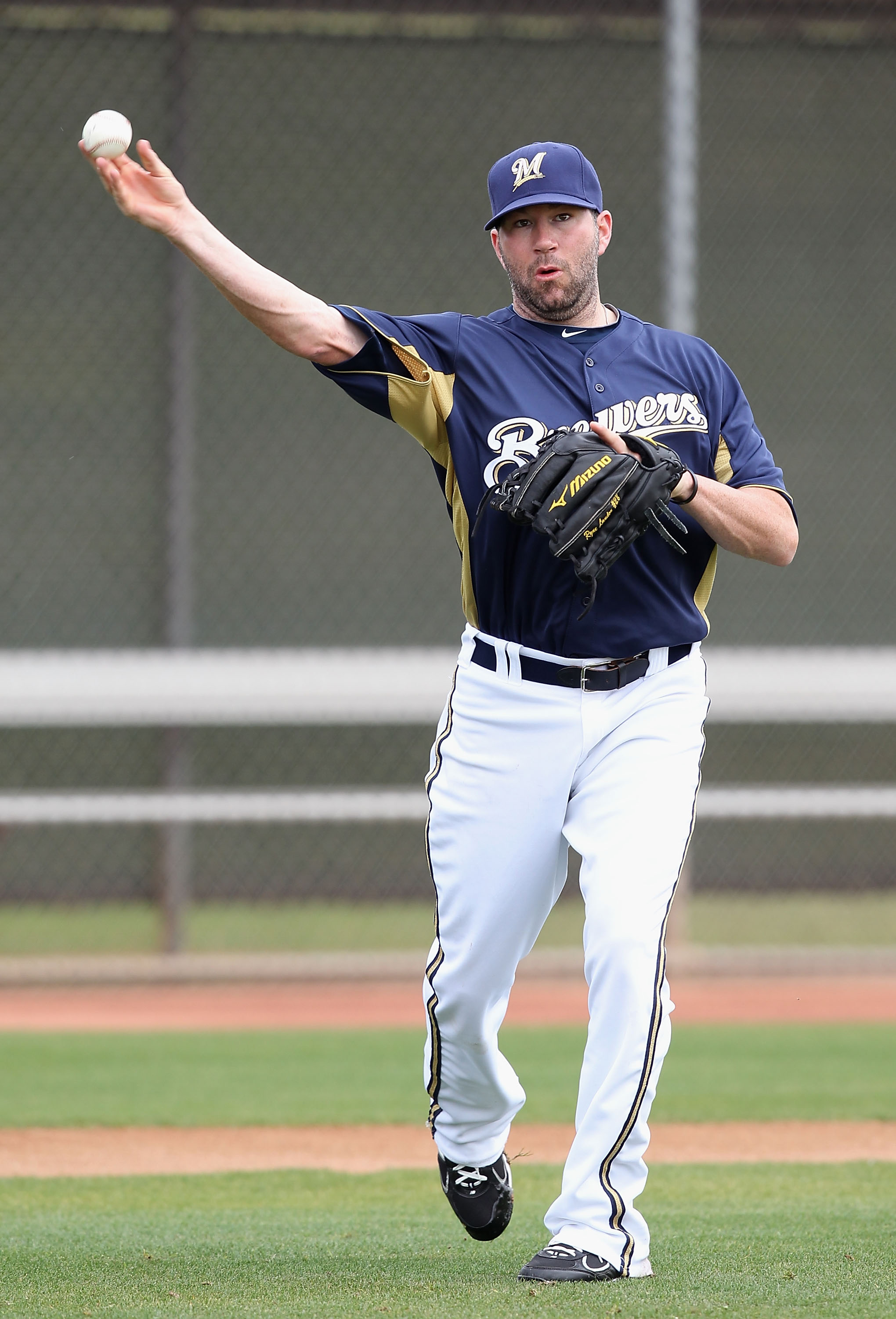 PHOENIX, AZ - FEBRUARY 18:  Pitcher Shaun Marcum #18 of the Milwaukee Brewers participates in fielding drills during a MLB spring training practice at Maryvale Baseball Park on February 18, 2011 in Phoenix, Arizona.  (Photo by Christian Petersen/Getty Ima