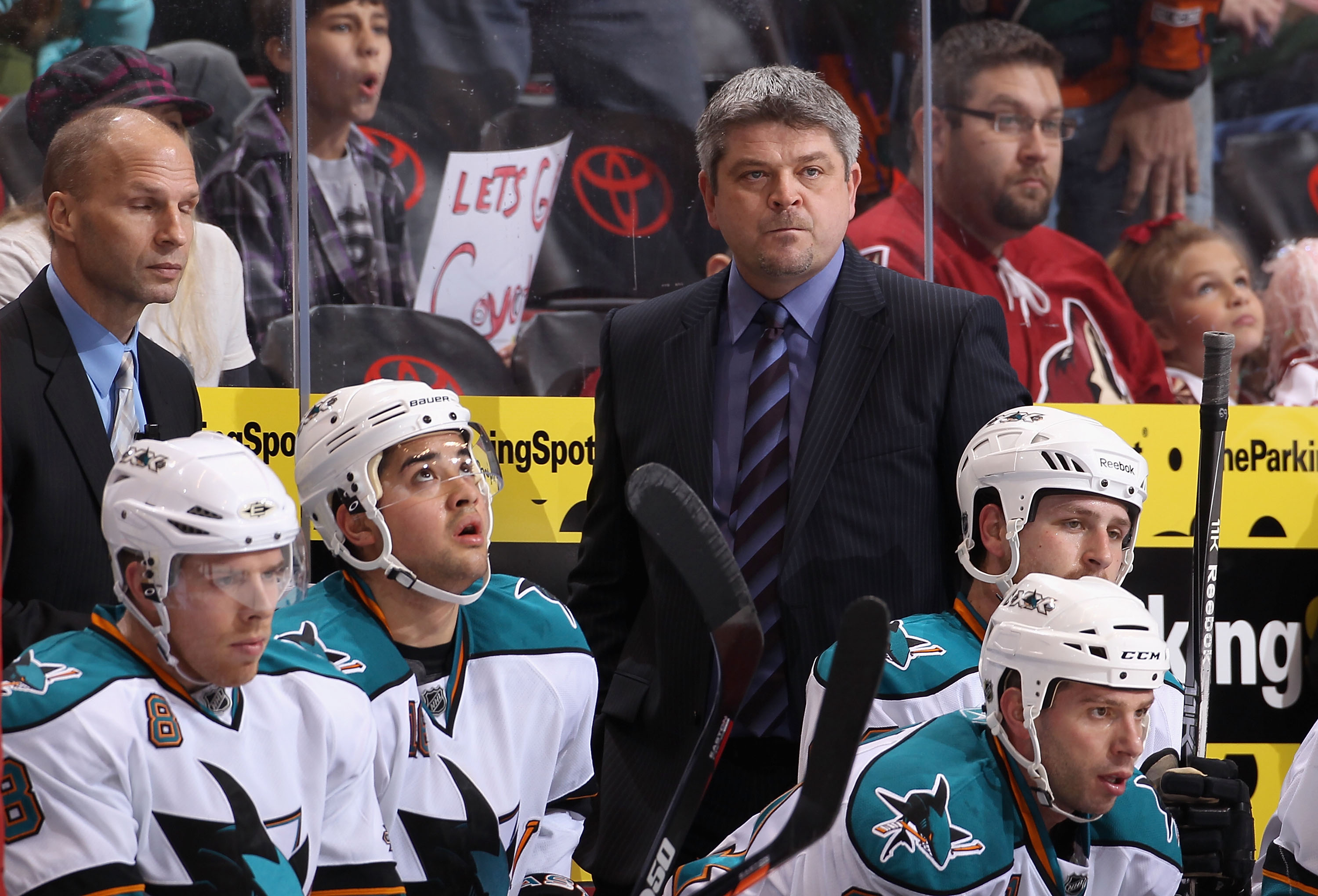 GLENDALE, AZ - JANUARY 17:  Head coach Todd McLellan of the San Jose Sharks watches from the bench during the NHL game against the Phoenix Coyotes at Jobing.com Arena on January 17, 2011 in Glendale, Arizona.  The Sharks defeated the Coyotes 4-2.  (Photo
