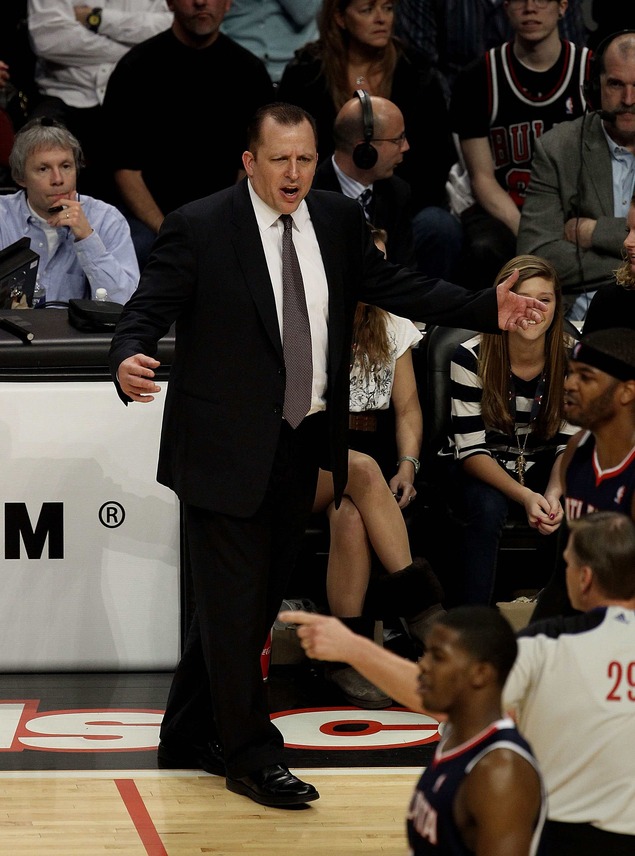 CHICAGO, IL - MARCH 11: Head coach Tom Thibodeau of the Chicago Bulls argues a call with referee Steve Javie #29 during a game against the Atlanta Hawks at the United Center on March 11, 2011 in Chicago, Illinois. The Bulls defeated the Hawks 94-76. NOTE