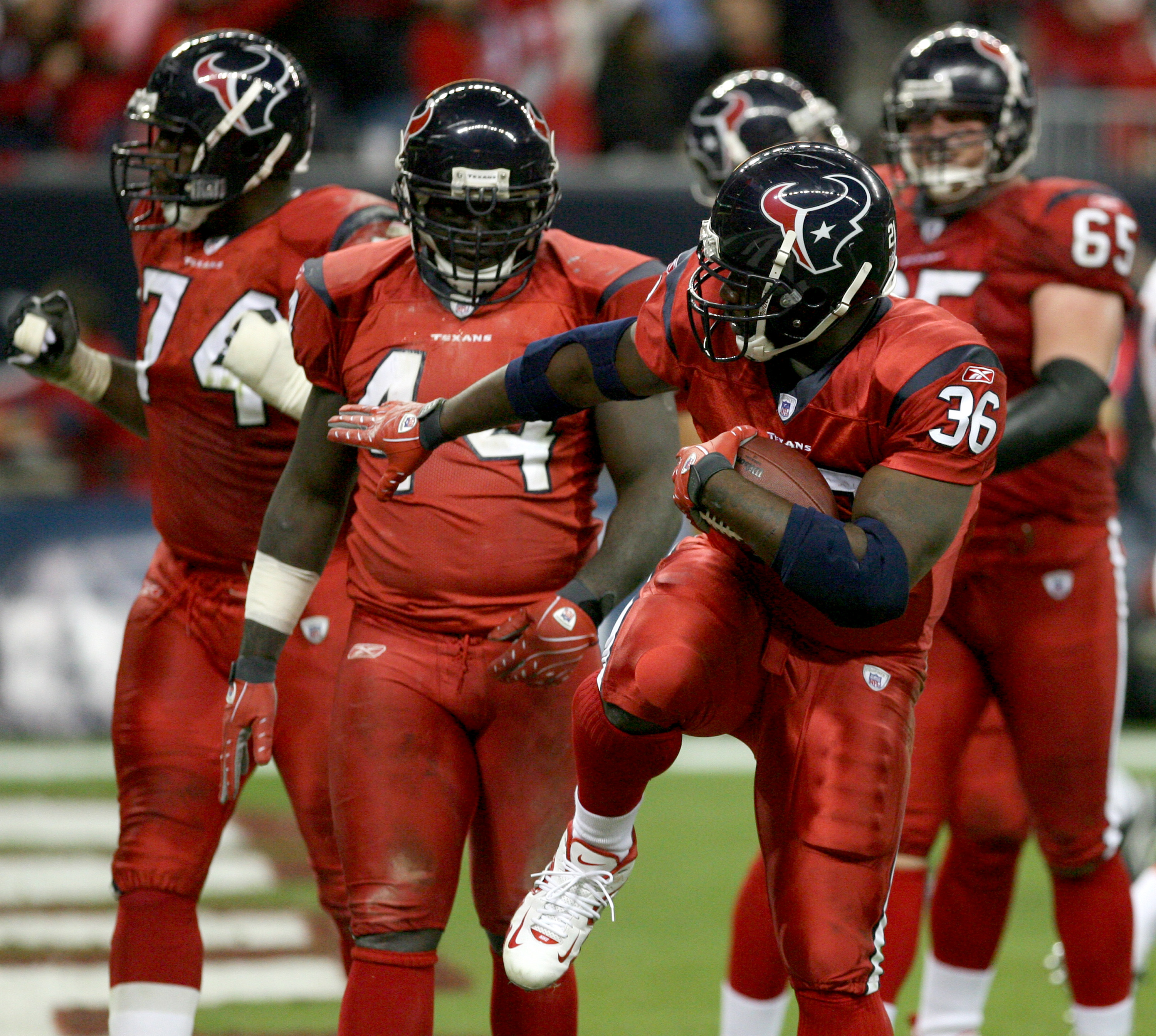 HOUSTON - DECEMBER 13: Ron Dayne #36 of the Houston Texans celebrates after he scored a rushing touchdown during the NFL game against the Denver Broncos at  Reliant Stadium on December 13, 2007 in Houston, Texas. (Photo by Thomas B.  Shea/Getty Images)