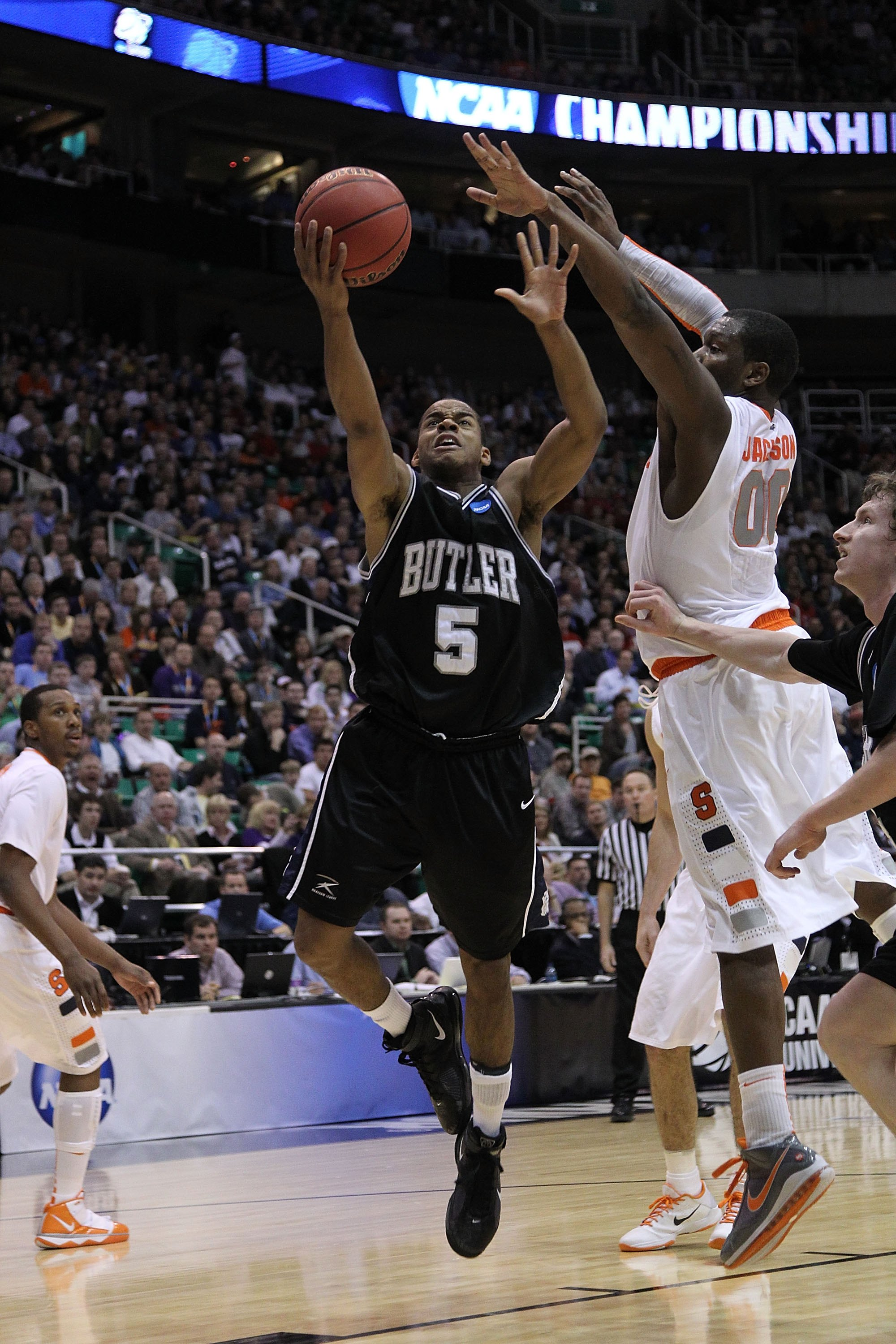 SALT LAKE CITY - MARCH 25:  Ronald Nored #5 of the Butler Bulldogs in action against the Syracuse Orange during the west regional semifinal of the 2010 NCAA men's basketball tournament at the Energy Solutions Arena on March 25, 2010 in Salt Lake City, Uta