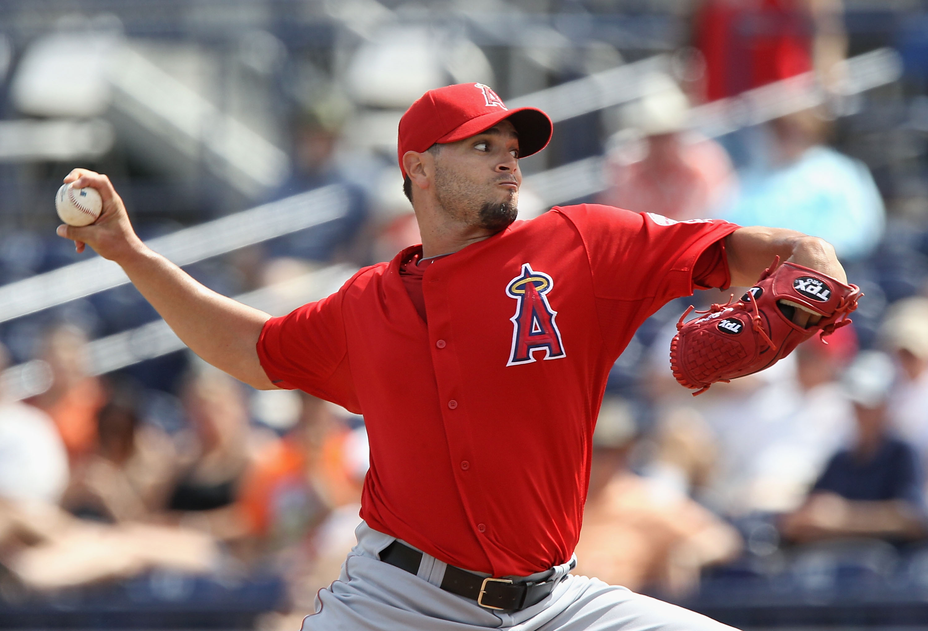 PEORIA, AZ - MARCH 15:  Starting pitcher Joel Pineiro #35 of the Los Angeles Angels of Anaheim pitches against the San Diego Padres during the spring training game at Peoria Stadium on March 15, 2011 in Peoria, Arizona.  (Photo by Christian Petersen/Getty