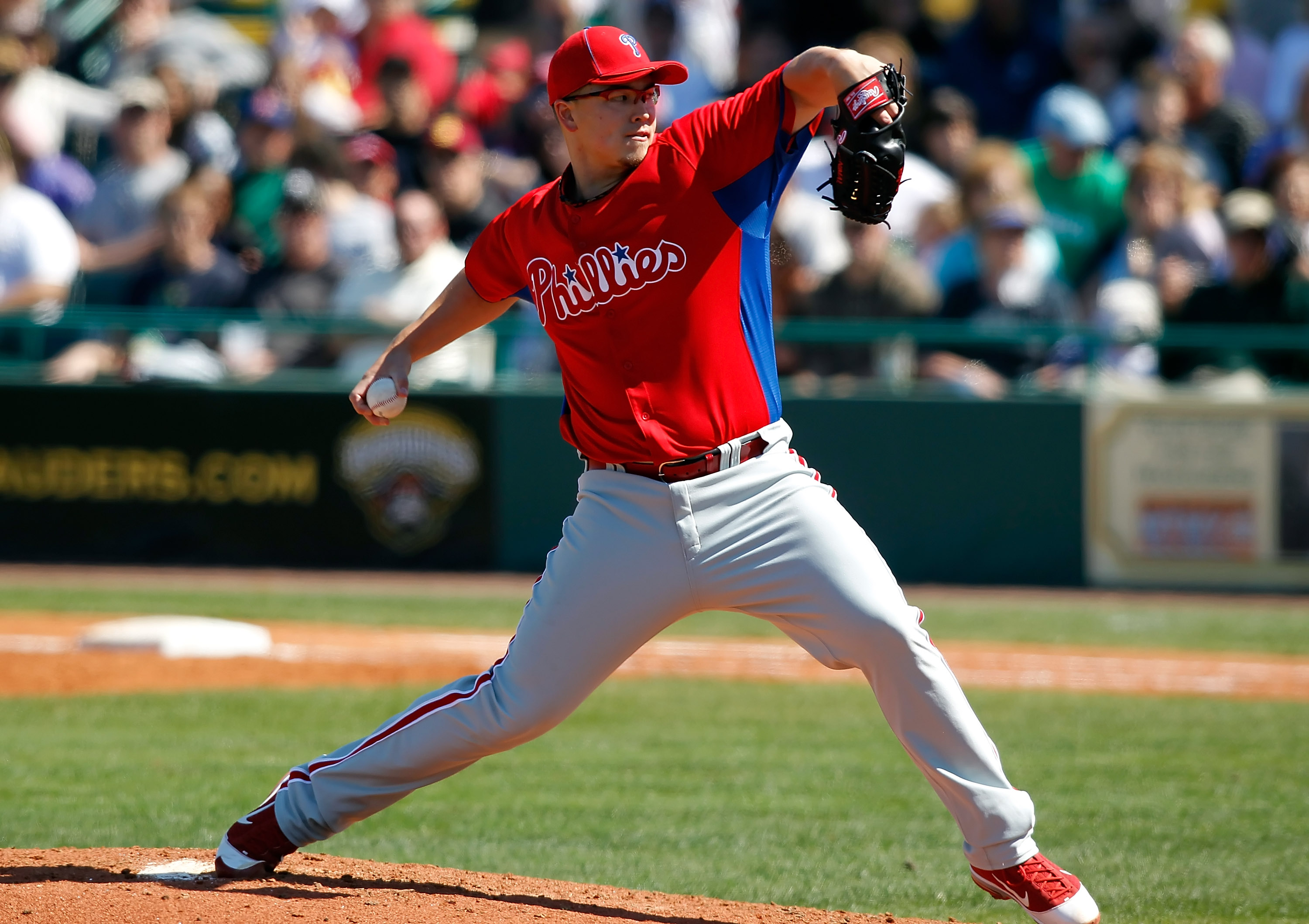 BRADENTON, FL - MARCH 12:  Pitcher Vance Worley #49 of the Philadelphia Phillies pitches against the Pittsburgh Pirates during a Grapefruit League Spring Training Game at McKechnie Field on March 12, 2011 in Bradenton, Florida.  (Photo by J. Meric/Getty I