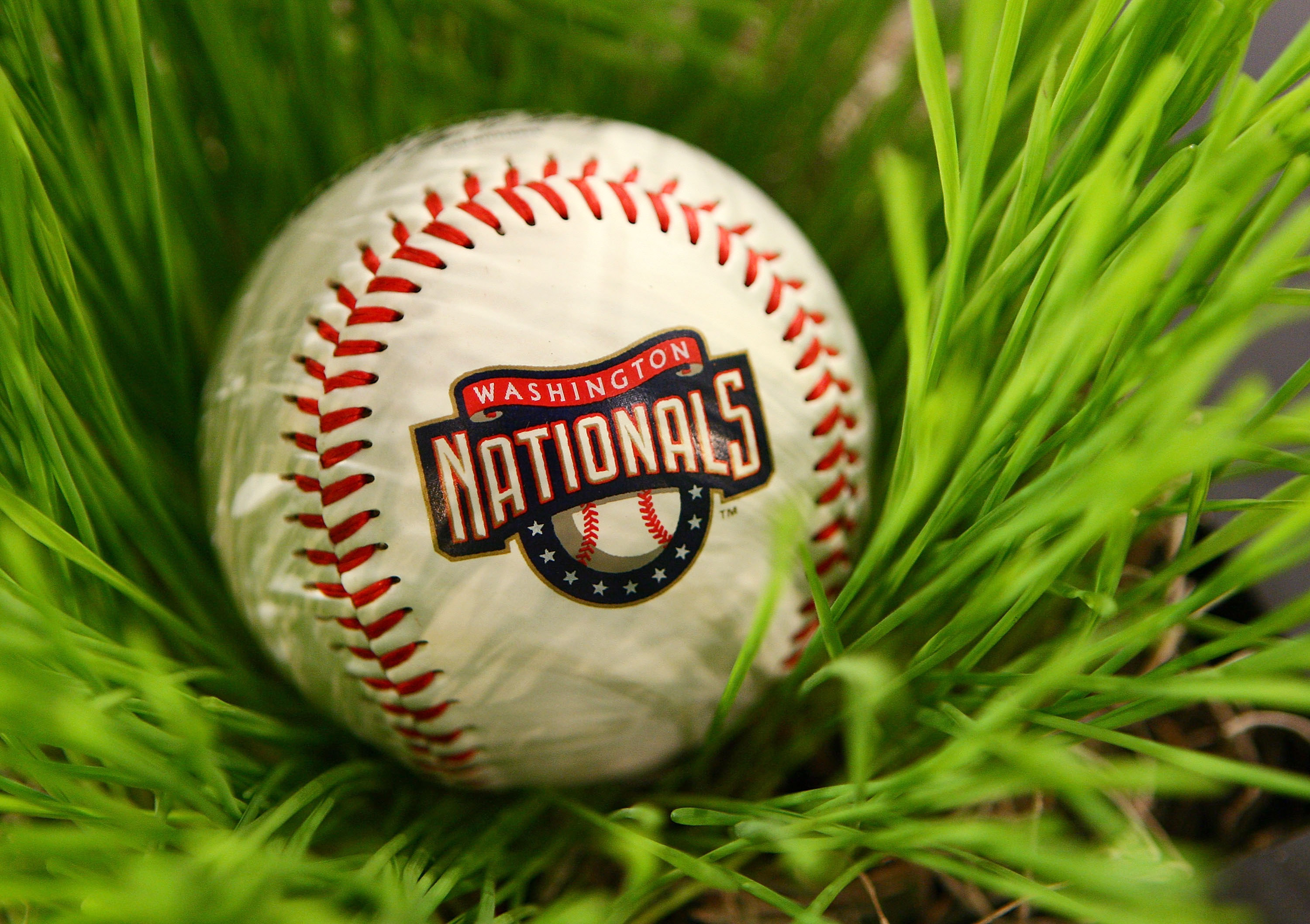 SECAUCUS, NJ - JUNE 07:  A detailed view of a Washington National baseball during the MLB First Year Player Draft on June 7, 2010 held in Studio 42 at the MLB Network in Secaucus, New Jersey.  (Photo by Mike Stobe/Getty Images)