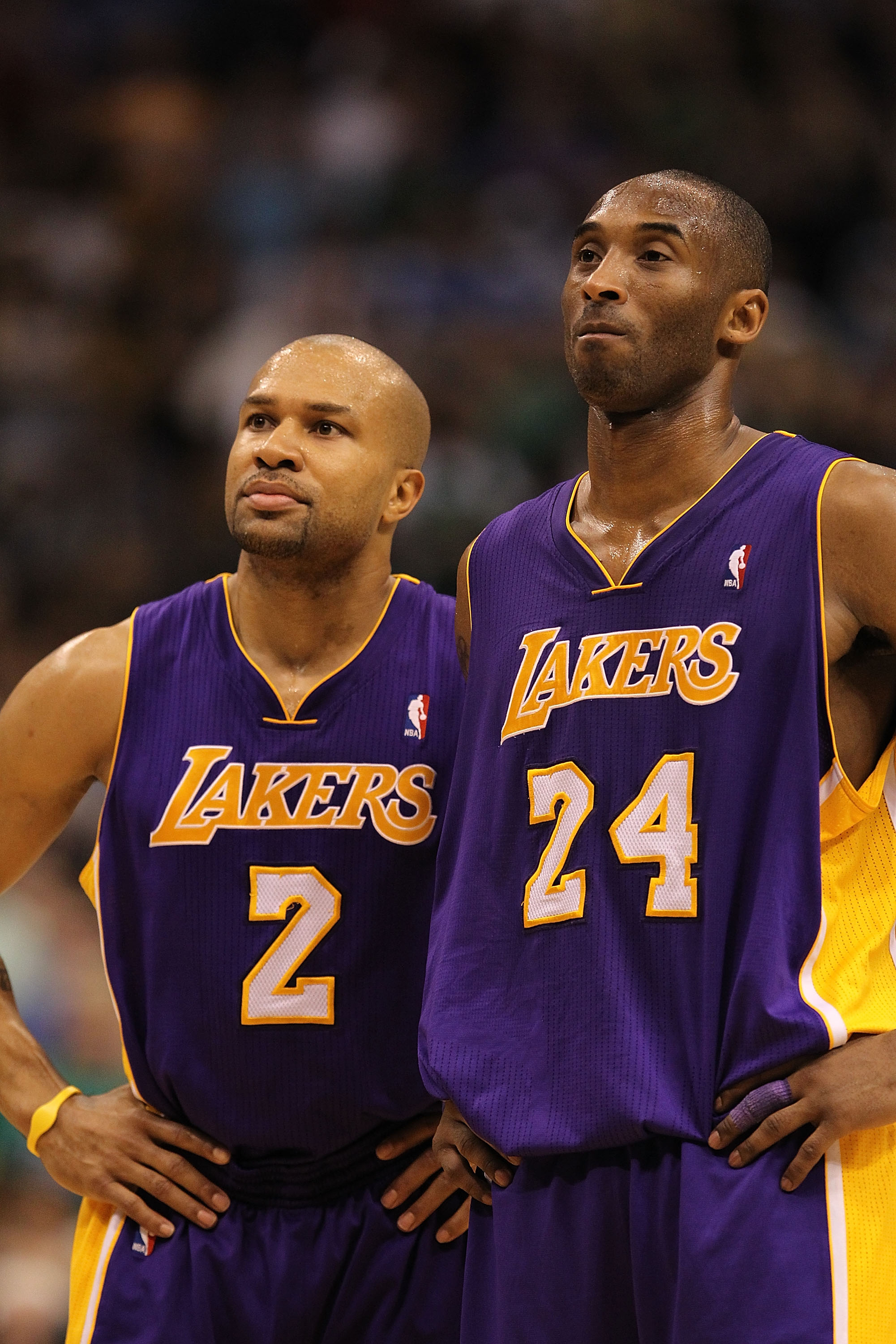 DALLAS, TX - MARCH 12:  Derek Fisher #2 and Kobe Bryant #24 of the Los Angeles Lakers at American Airlines Center on March 12, 2011 in Dallas, Texas.  NOTE TO USER: User expressly acknowledges and agrees that, by downloading and or using this photograph,