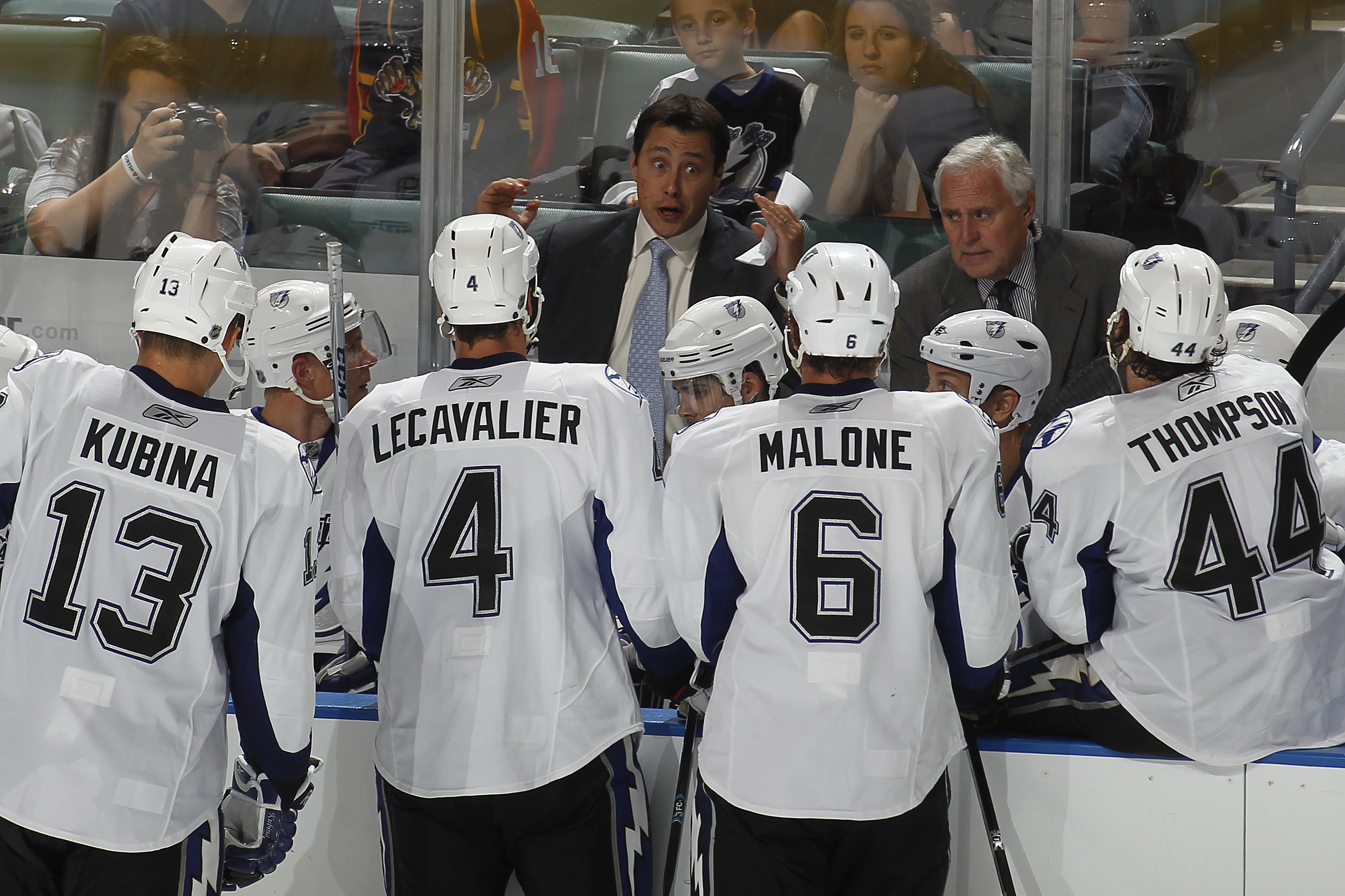 SUNRISE, FL - OCTOBER 1: Head coach Guy Boucher of the Tampa Bay Lightning talks to the team during a time out against the Florida Panthers during a preseason game on October 1, 2010 at the BankAtlantic Center in Sunrise, Florida. The Lightning defeated t
