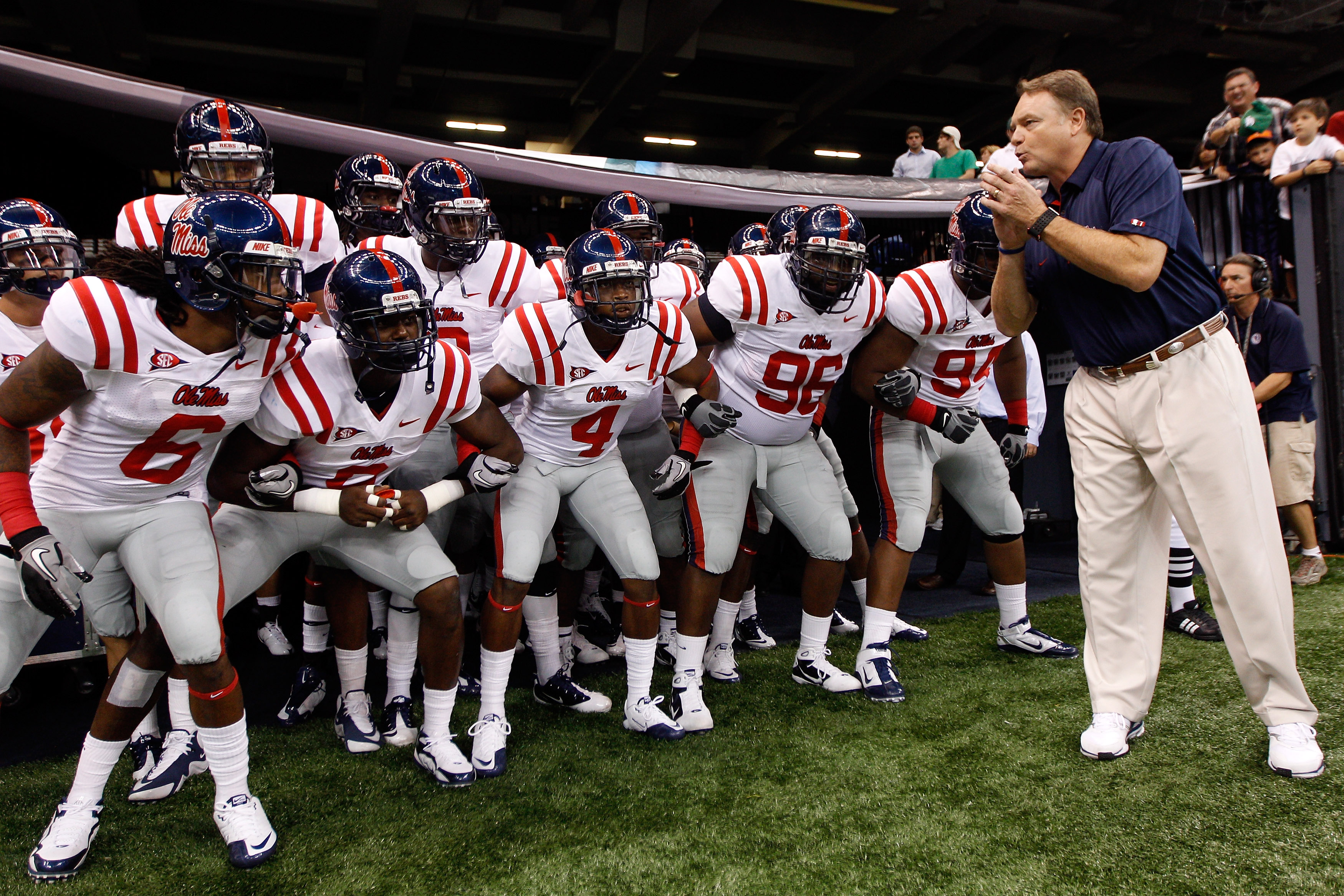 NEW ORLEANS - SEPTEMBER 11:  Head coach Houston Nutt of the Ole Miss Rebels waits to take the field with his team before playing the Tulane Green Wave at the Louisiana Superdome on September 11, 2010 in New Orleans, Louisiana.  (Photo by Chris Graythen/Ge