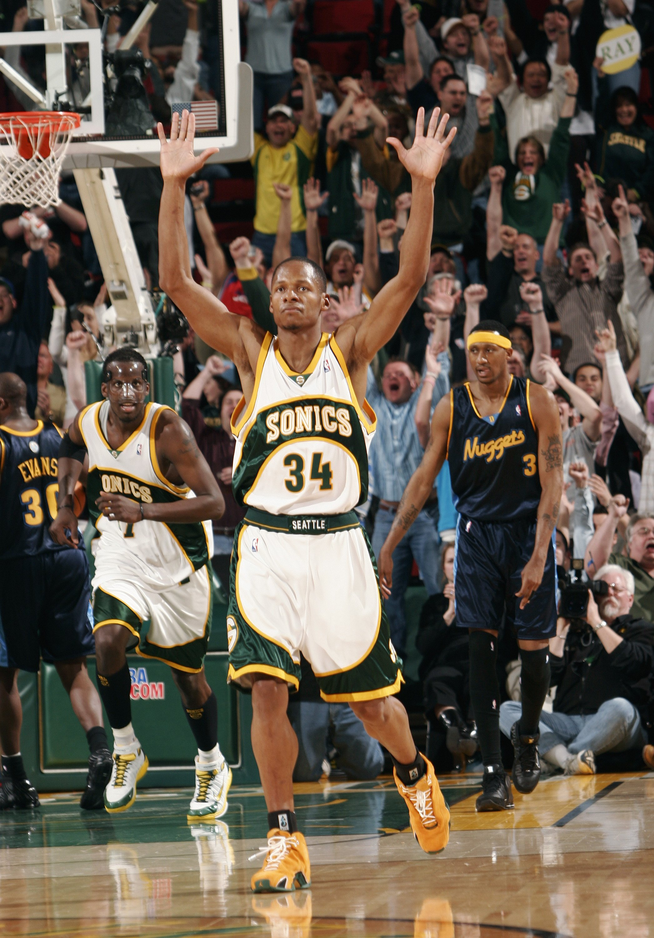 SEATTLE - APRIL 19:  Ray Allen #34 of the Seattle SuperSonics reacts after hitting his sixth three-point shot of the game against the Denver Nuggets, breaking the NBA record for most three-pointers by a player in a season (267), on April 19, 2006 at Key A