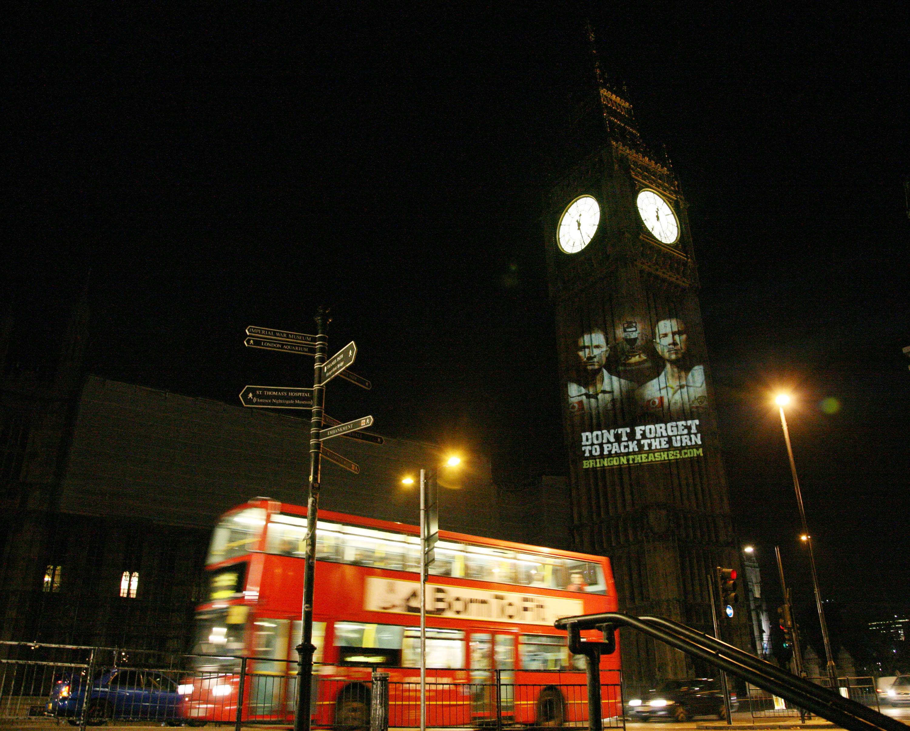 LONDON, ENGLAND - OCTOBER 28: In this handout photo provided by Cricket Australia an image of Australian Test cricket captain Ricky Ponting and Vice Captain Michael Clarke is projected onto the Big Ben clock tower at the Palace of Westminster on October 2