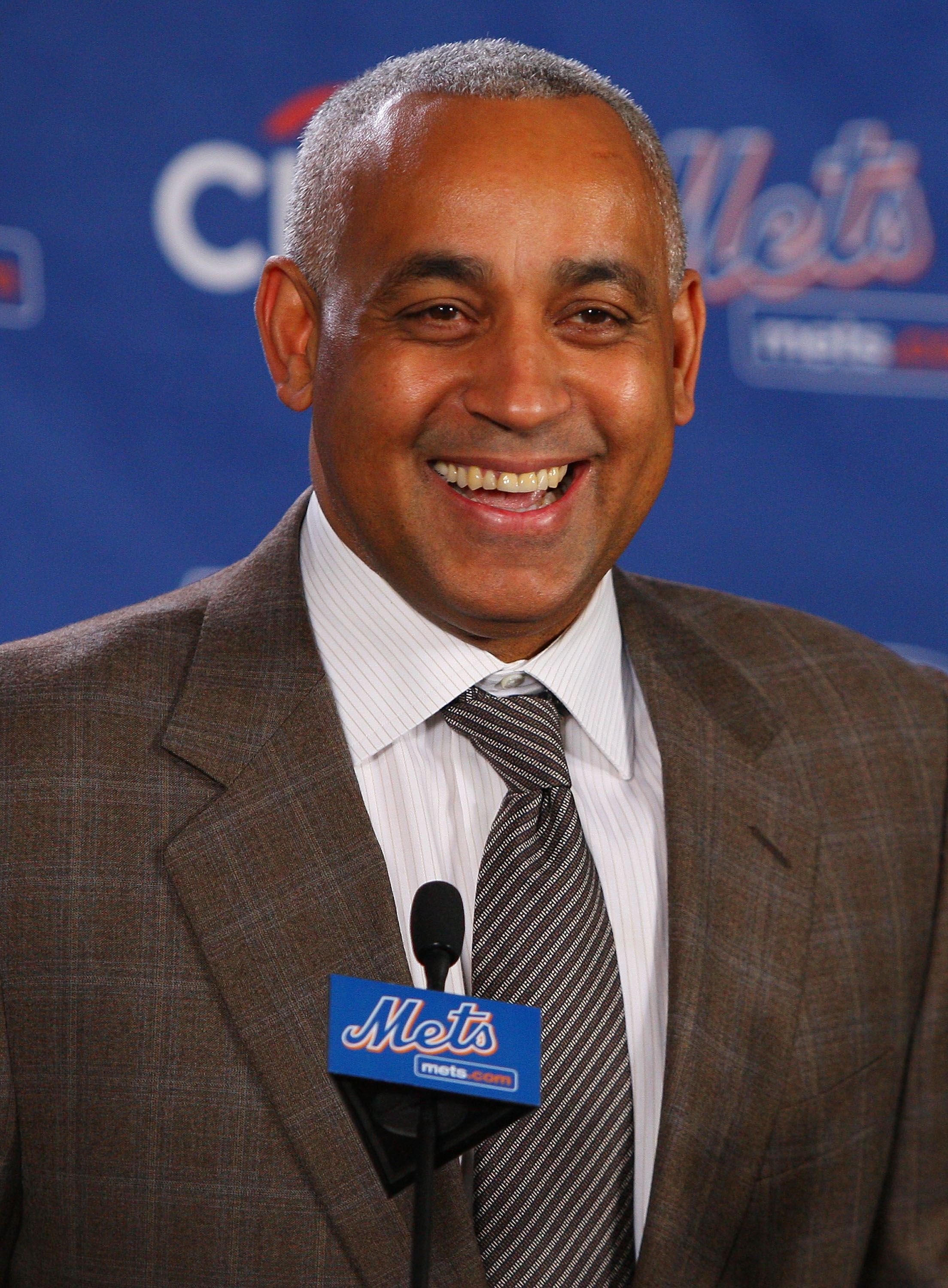 LONG ISLAND CITY, NY - DECEMBER 17:  New York Mets General Manager Omar Minaya speaks to the media during a press conference to introduce Francisco Rodriquez on December 17, 2008 at the Citigroup Building in New York City.  (Photo by Mike Stobe/Getty Imag