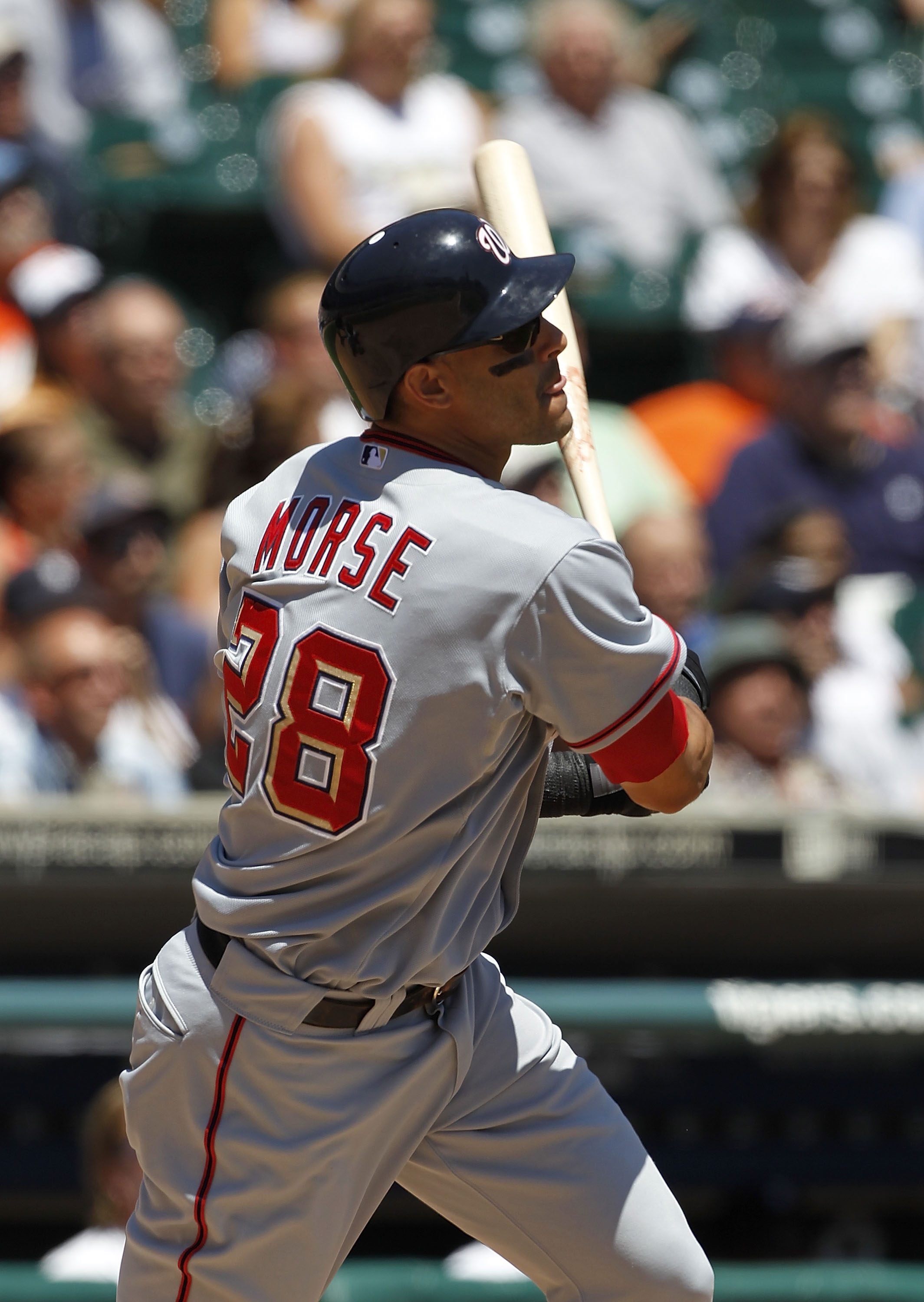 DETROIT - JUNE 17:  Michael Morse #28 of the Washington Nationals bats in the second inning during the game against the Detroit Tigers on June 17, 2010 at Comerica Park in Detroit, Michigan. The Tigers defeated the Nationals 8-3.  (Photo by Leon Halip/Get