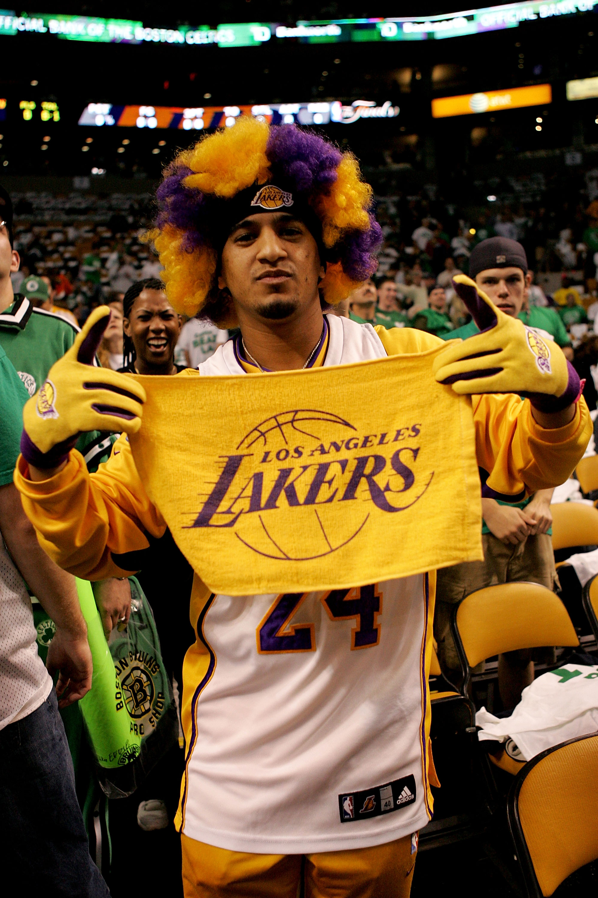 cbc5228a6d4 BOSTON - JUNE 05: A Los Angeles Laker fan attends Game One of the 2008