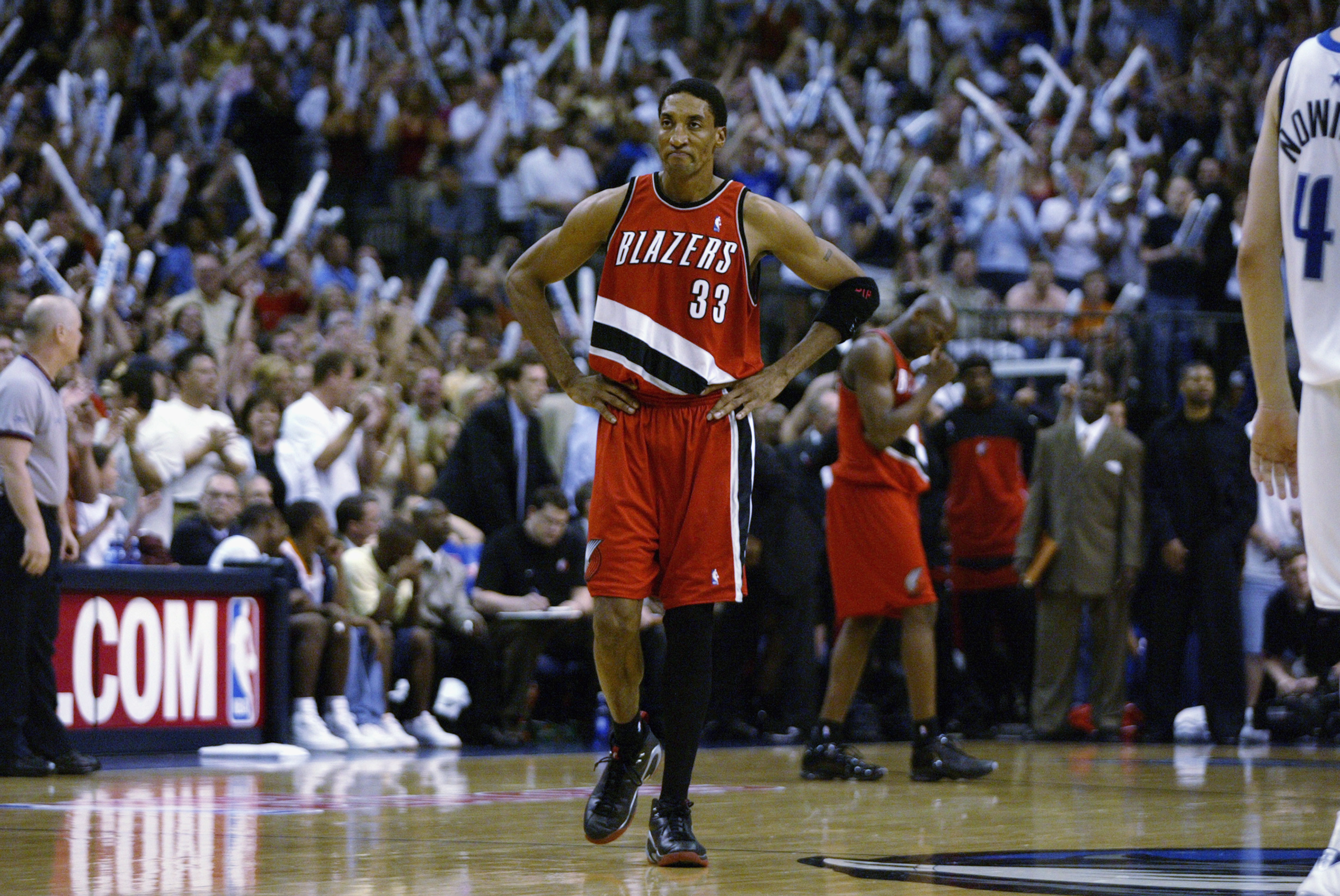 0fc4b424715c DALLAS - MAY 4  Scottie Pippen  33 of the Portland Trail Blazers is upset