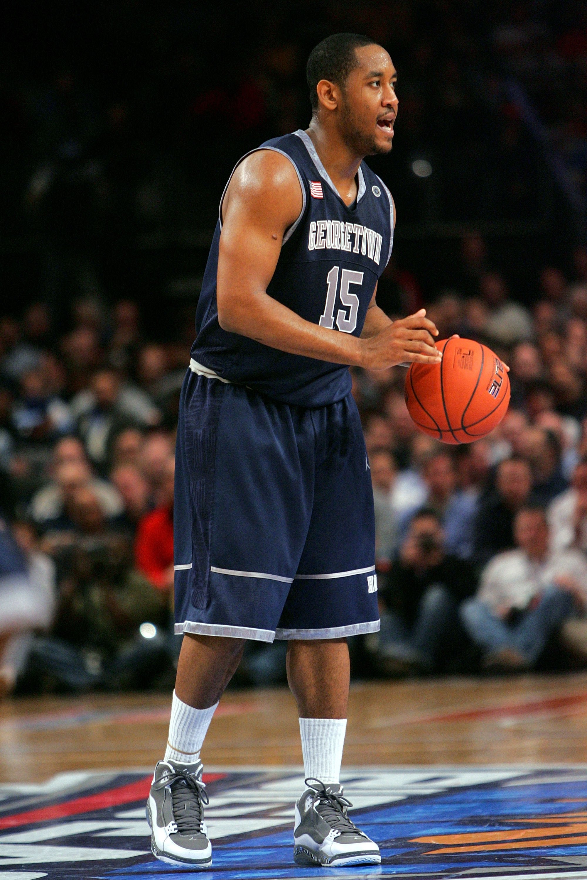 NEW YORK - MARCH 11:  Austin Freeman #15 of the Georgetown Hoyas handles the ball against the Syracuse Orange during the quarterfinal of the 2010 NCAA Big East Tournament at Madison Square Garden on March 11, 2010 in New York City.  (Photo by Chris Trotma