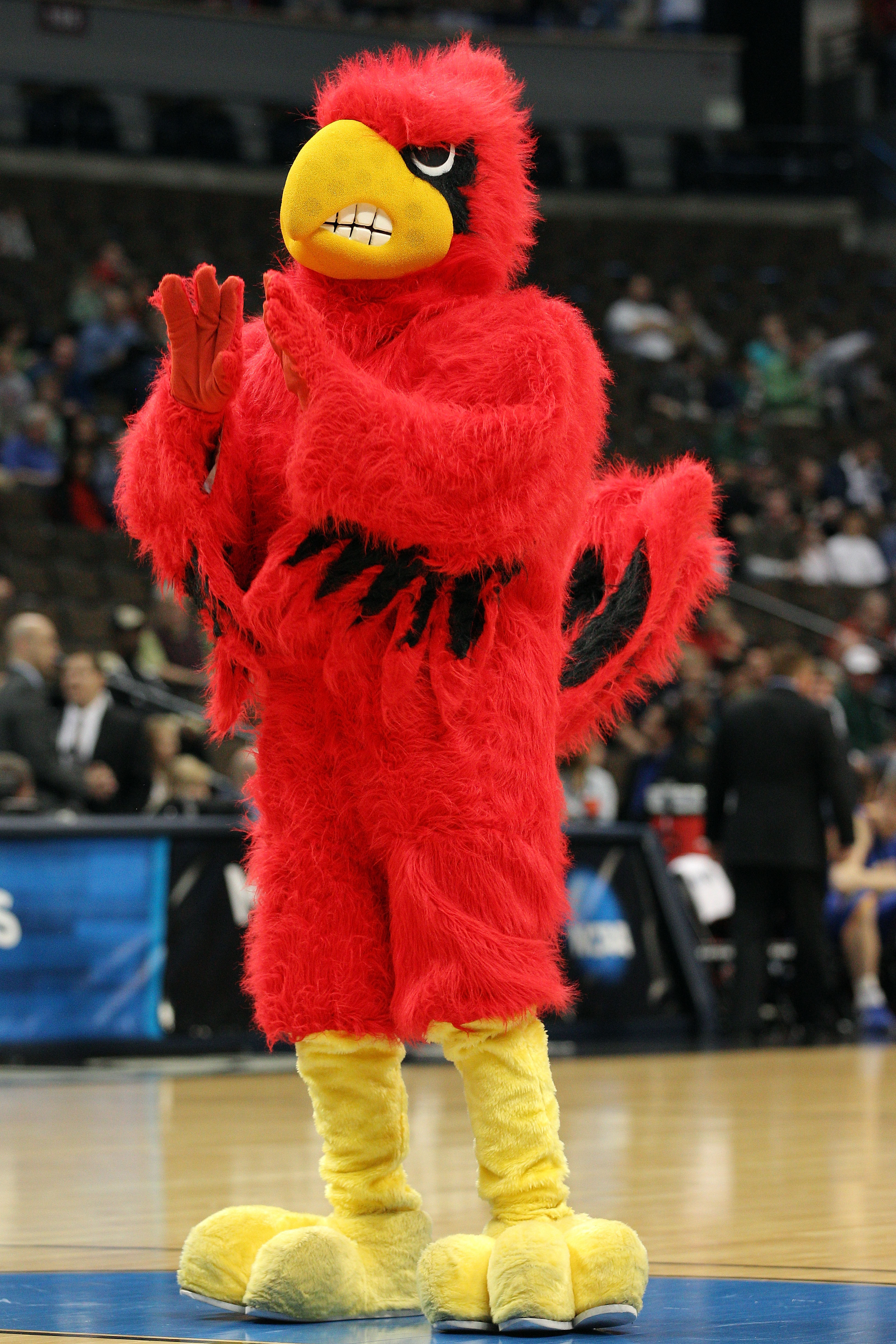 DENVER, CO - MARCH 17:  The mascot of the Louisville Cardinals performs prior to taking on the Morehead State Eagles in the second round of the 2011 NCAA men's basketball tournament at Pepsi Center on March 17, 2011 in Denver, Colorado.  (Photo by Justin