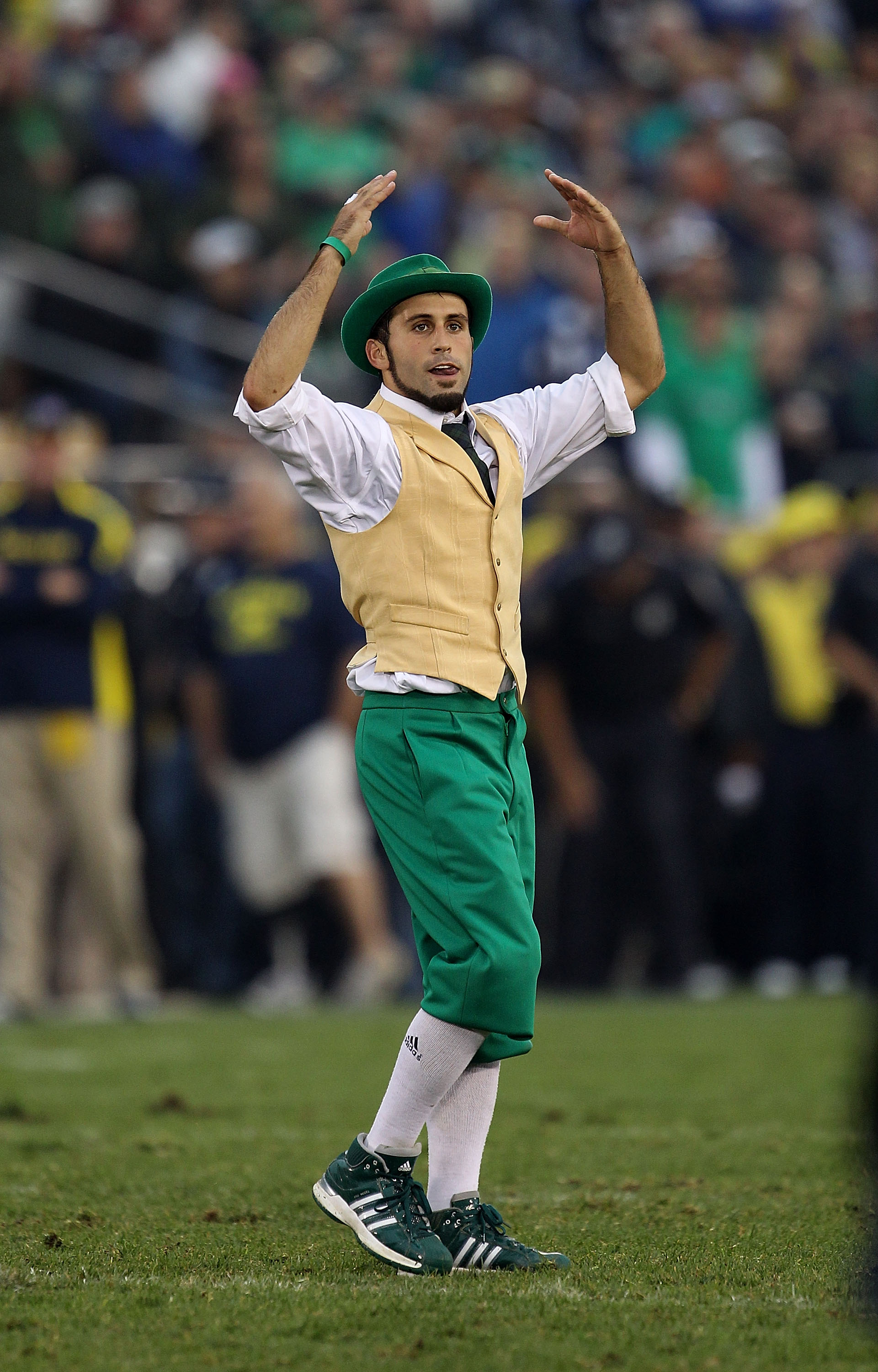 SOUTH BEND, IN - SEPTEMBER 11: The leprechaun mascot for the Notre Dame Fighting Irish performs during a game against the Michigan Wolverines at Notre Dame Stadium on September 11, 2010 in South Bend, Indiana. Michigan defeated Notre Dame 28-24. (Photo by