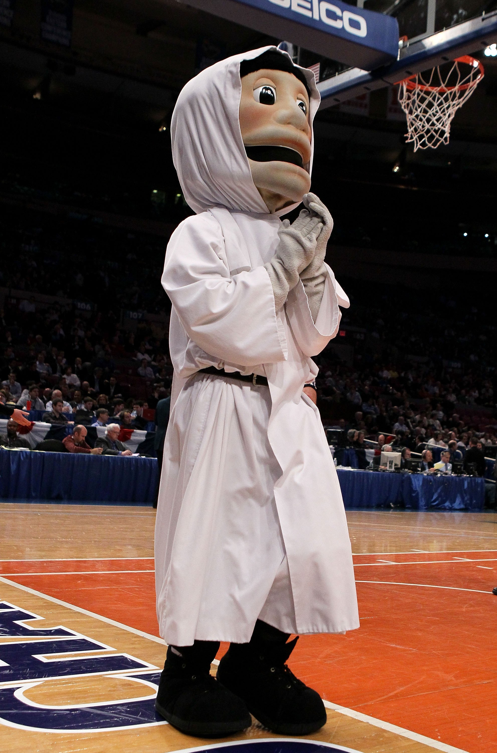 NEW YORK - MARCH 09: The Providence Friars mascot walks on the court against the Seton Hall Pirates during the first round game of the Big East Basketball Tournament at Madison Square Garden on March 9, 2010 in New York, New York.  (Photo by Jim McIsaac/G