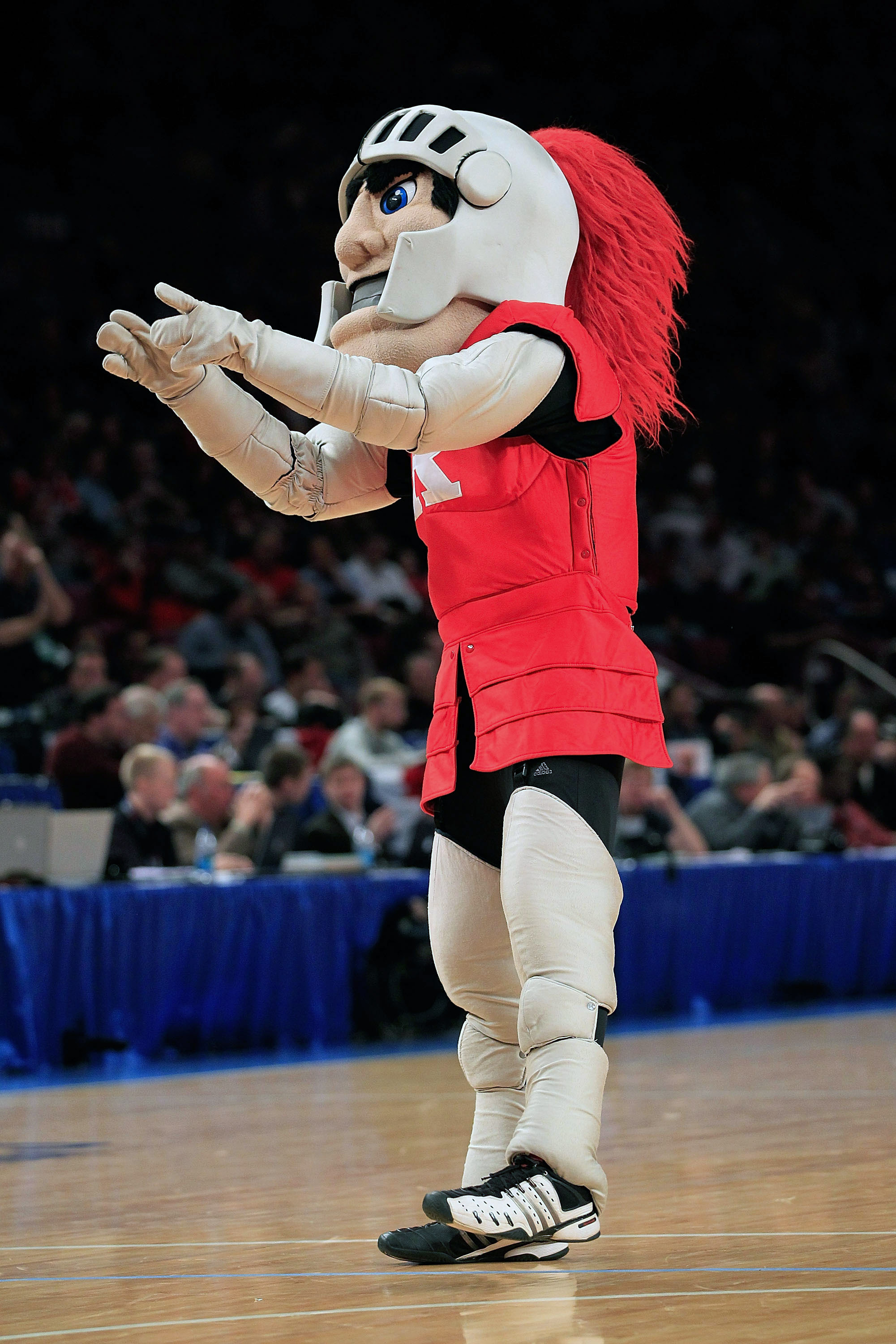 NEW YORK, NY - MARCH 09:  The mascot for the Rutgers Scarlet Knights performs during the game against the St.Johns Red Storm during the second round of the 2011 Big East Men's Basketball Tournament presented by American Eagle Outfitters at Madison Square